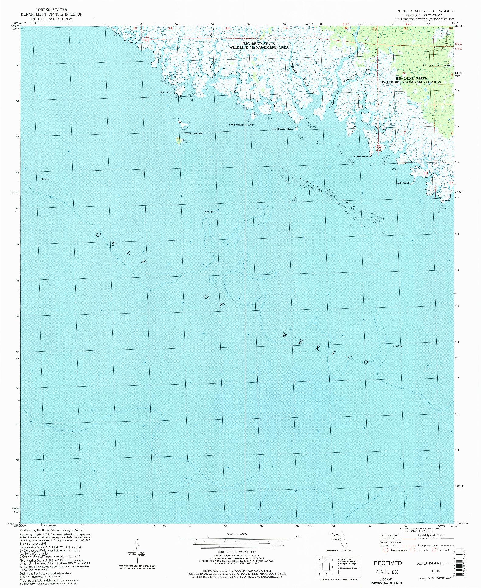 USGS 1:24000-SCALE QUADRANGLE FOR ROCK ISLANDS, FL 1994