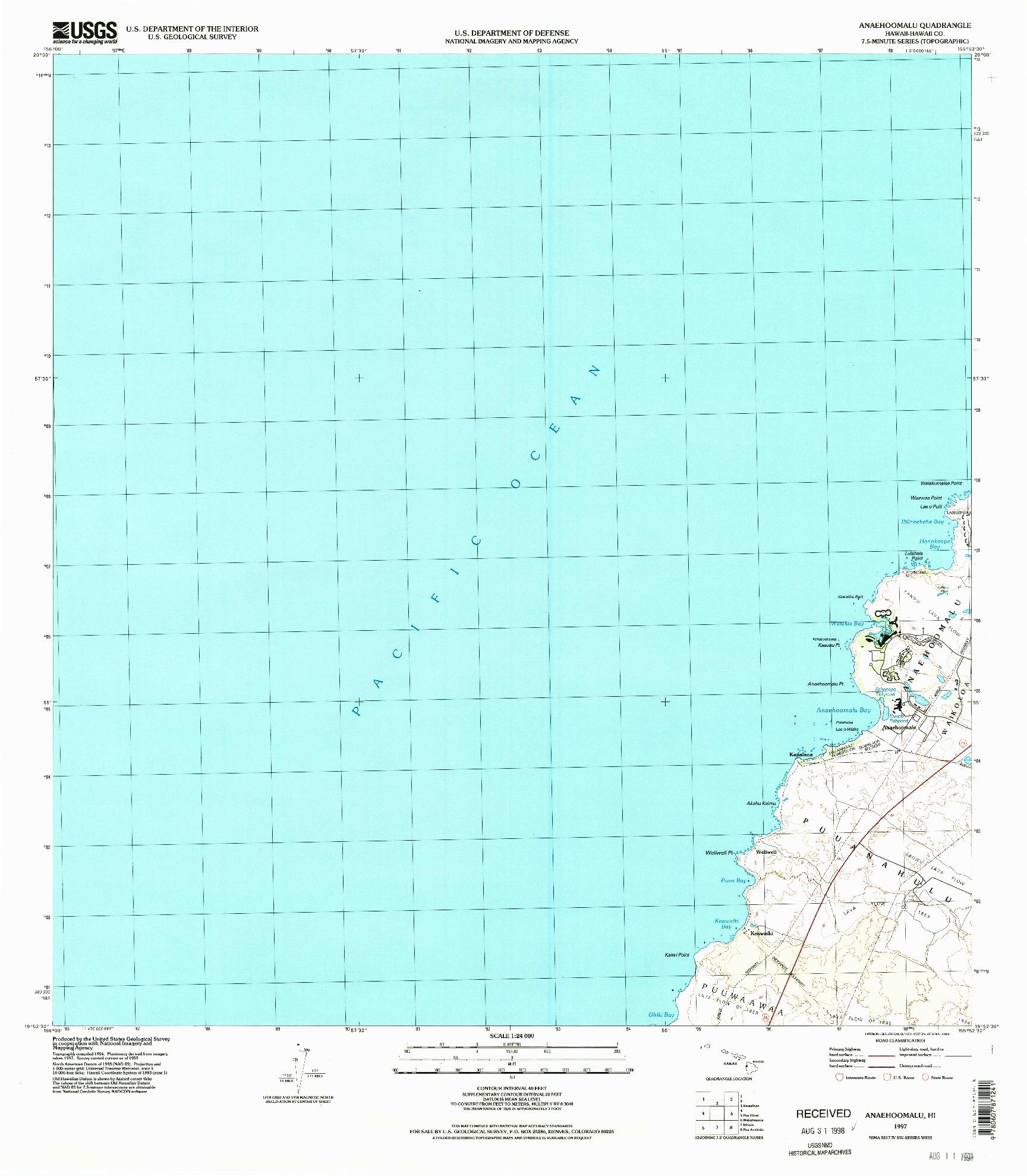 USGS 1:24000-SCALE QUADRANGLE FOR ANAEHOOMALU, HI 1997