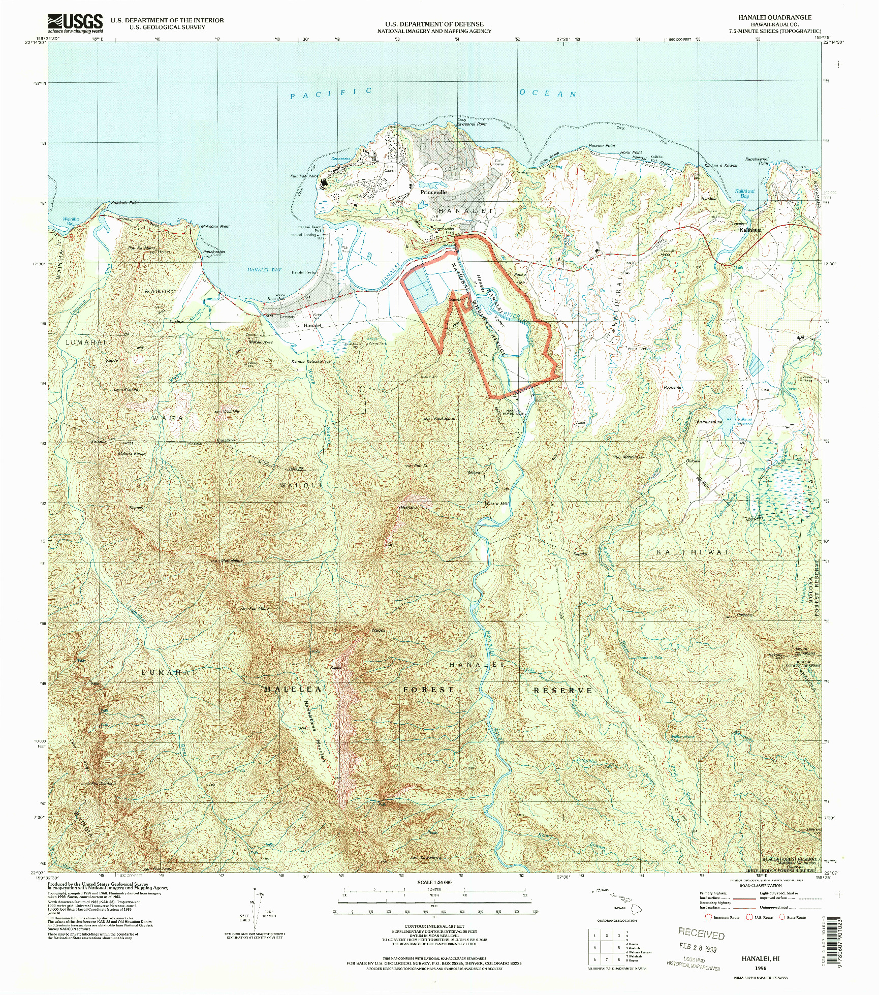 USGS 1:24000-SCALE QUADRANGLE FOR HANALEI, HI 1996