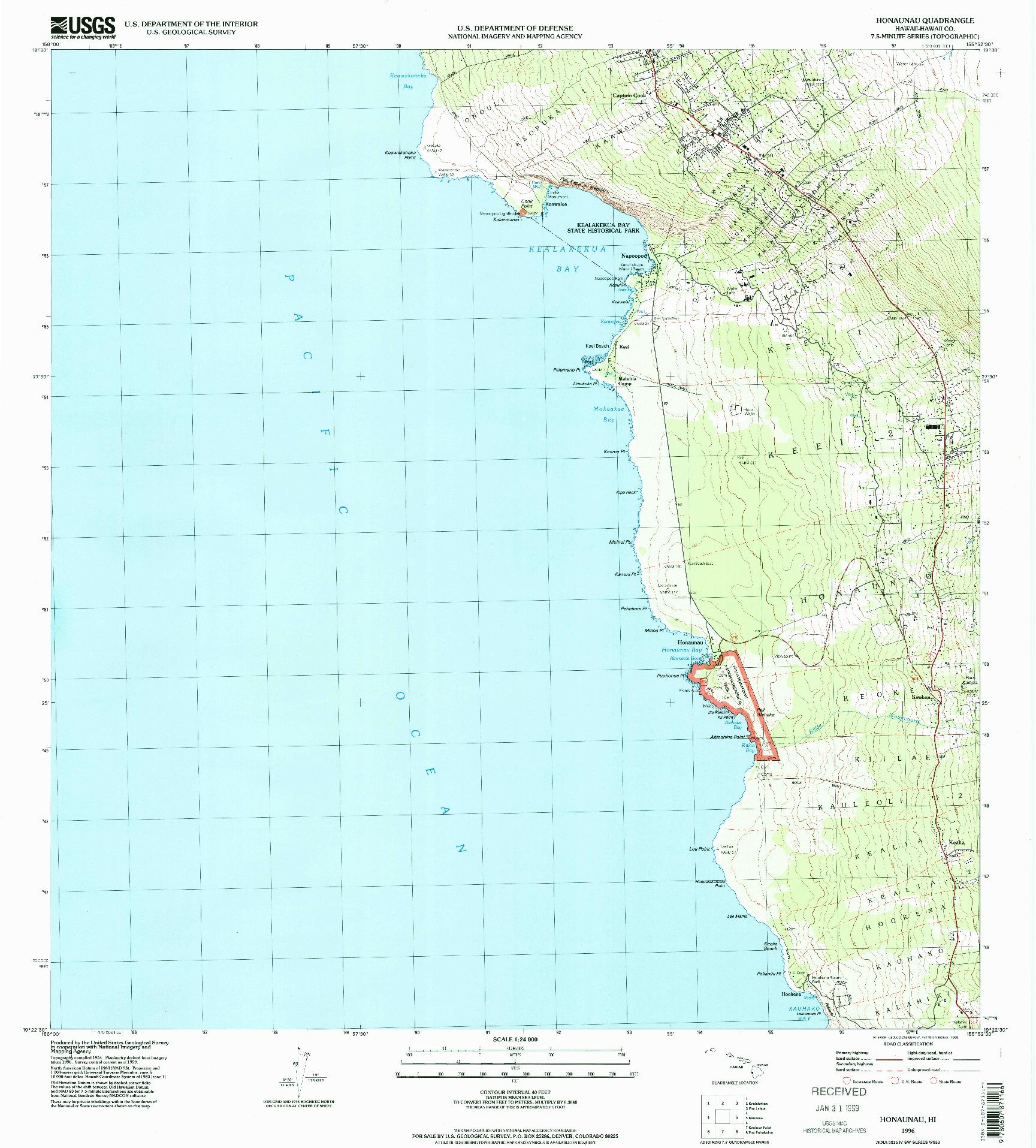 USGS 1:24000-SCALE QUADRANGLE FOR HONAUNAU, HI 1996