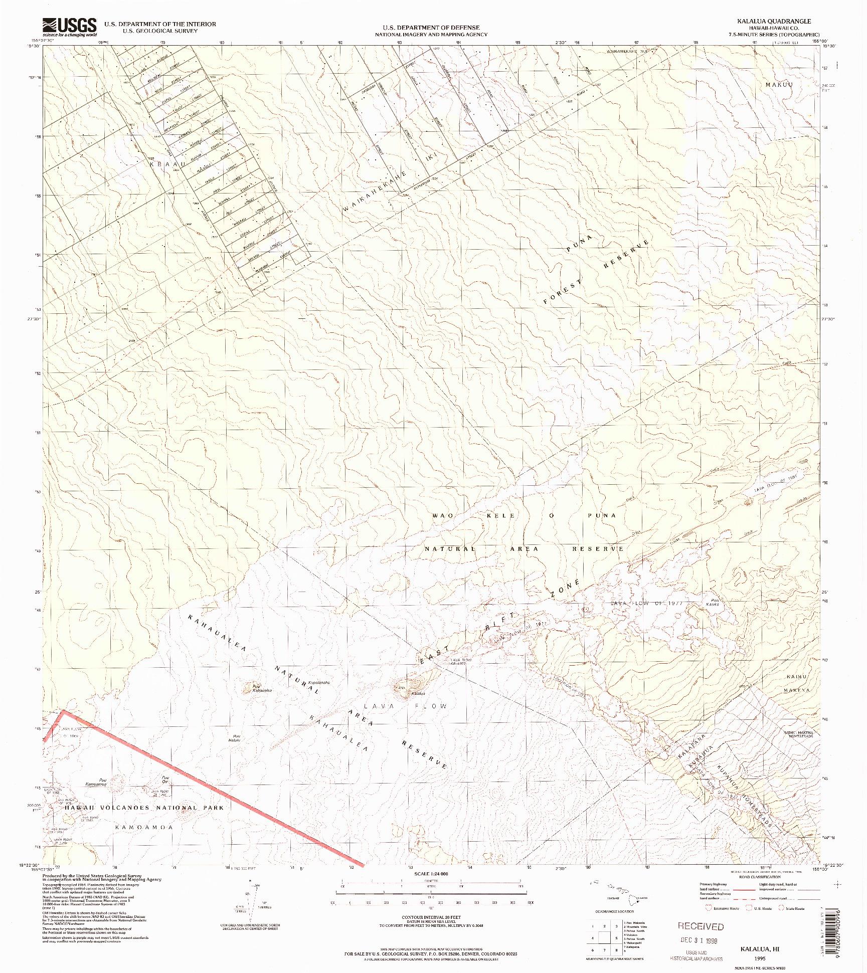 USGS 1:24000-SCALE QUADRANGLE FOR KALALUA, HI 1995