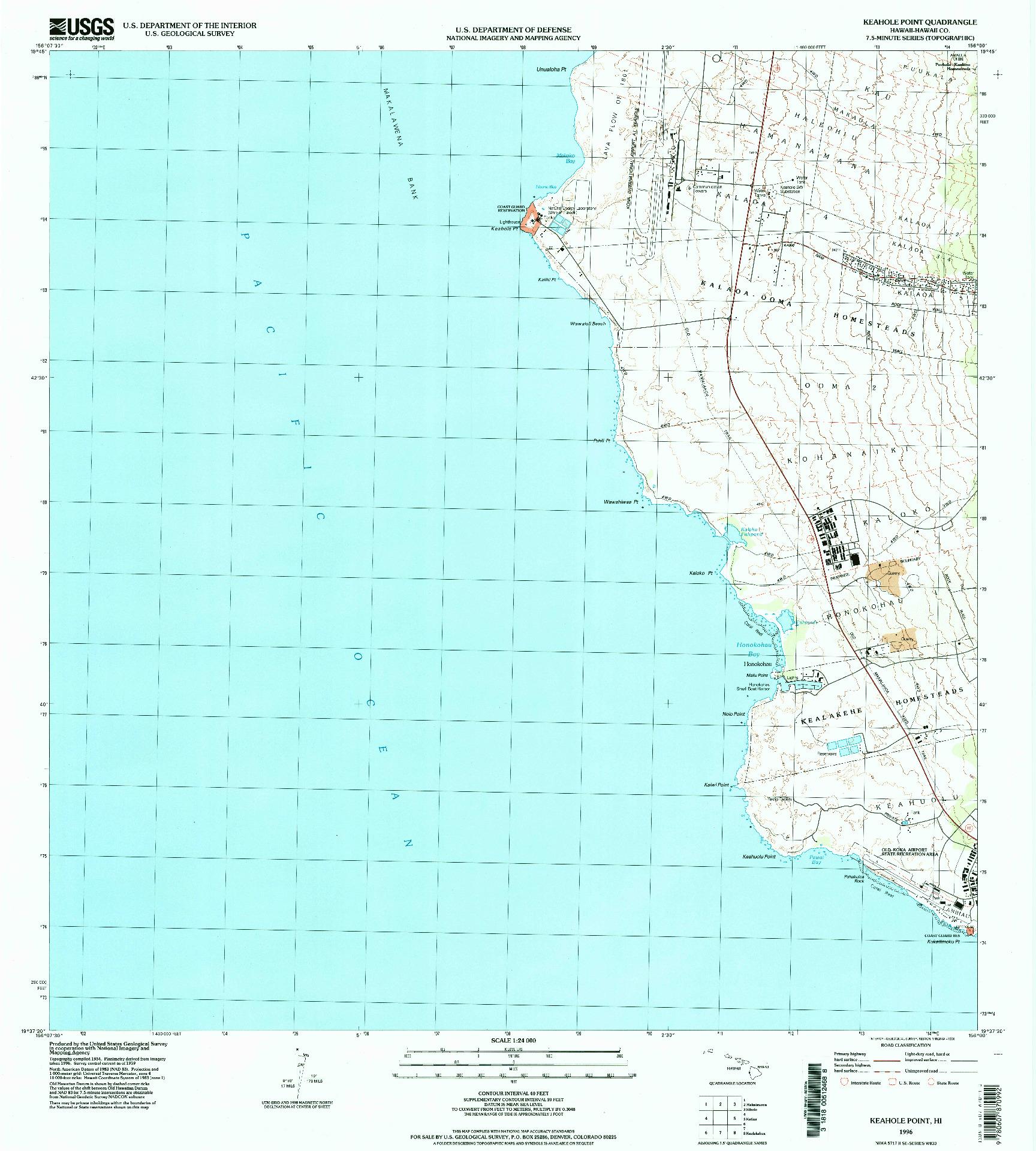 USGS 1:24000-SCALE QUADRANGLE FOR KEAHOLE POINT, HI 1996