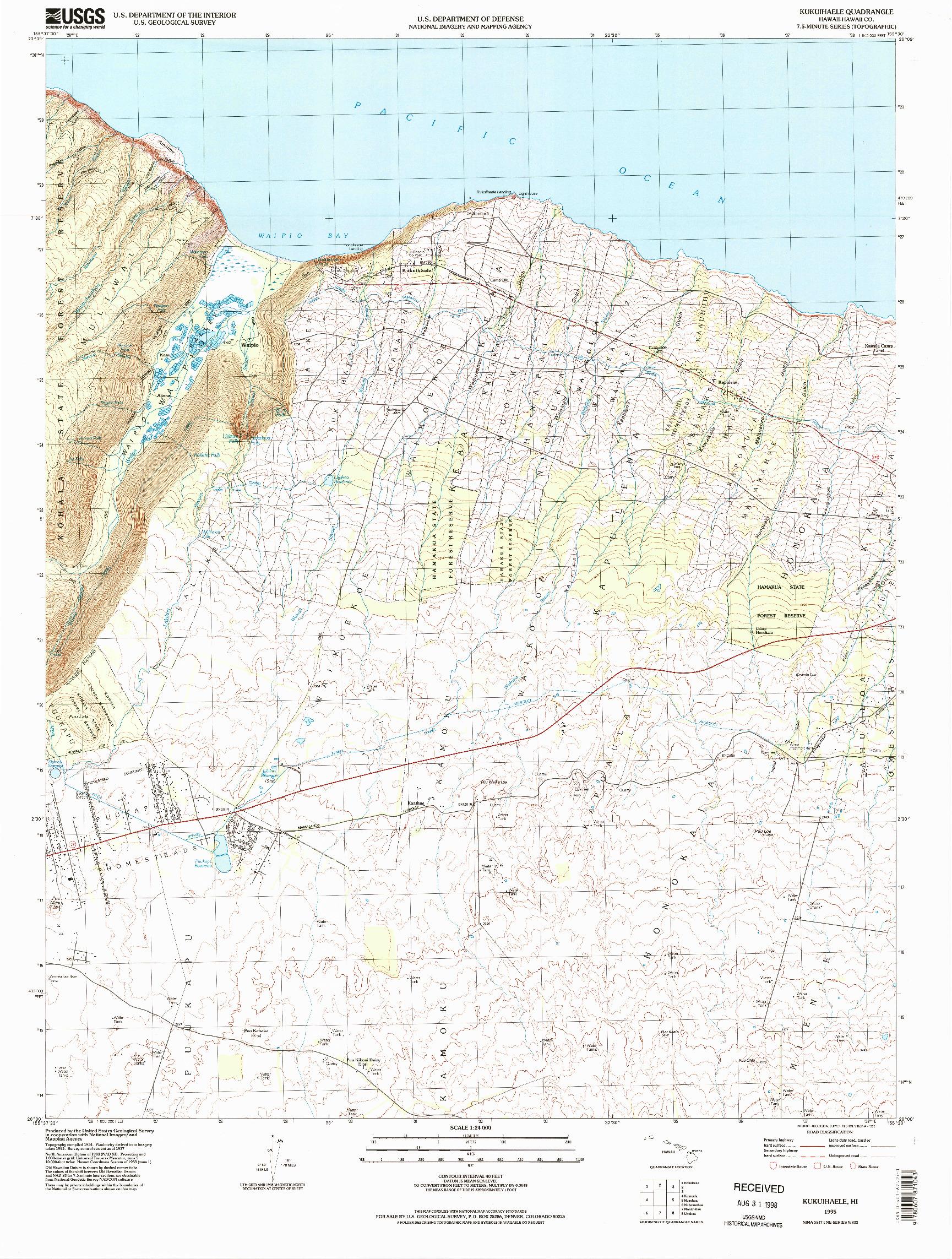 USGS 1:24000-SCALE QUADRANGLE FOR KUKUIHAELE, HI 1995