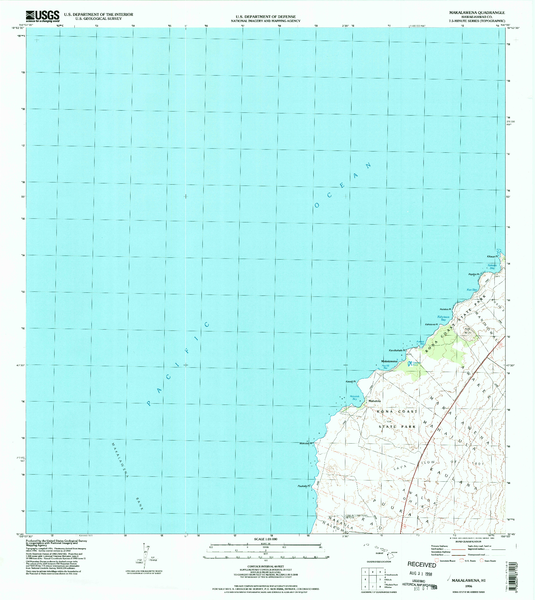 USGS 1:24000-SCALE QUADRANGLE FOR MAKALAWENA, HI 1996