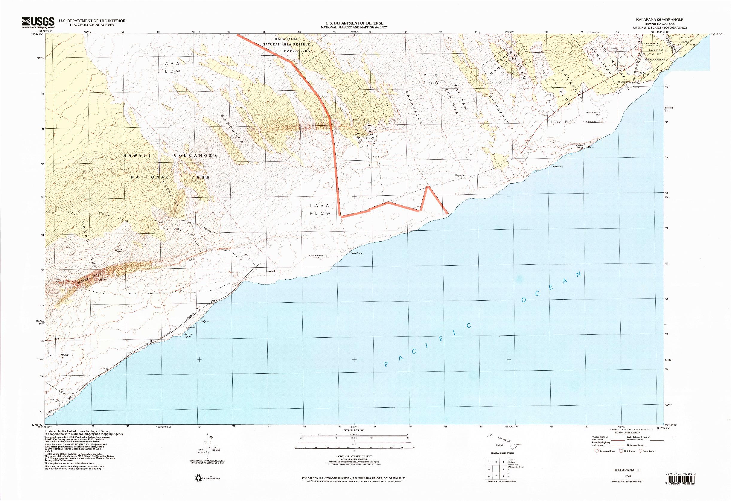 USGS 1:24000-SCALE QUADRANGLE FOR KALAPANA, HI 1994