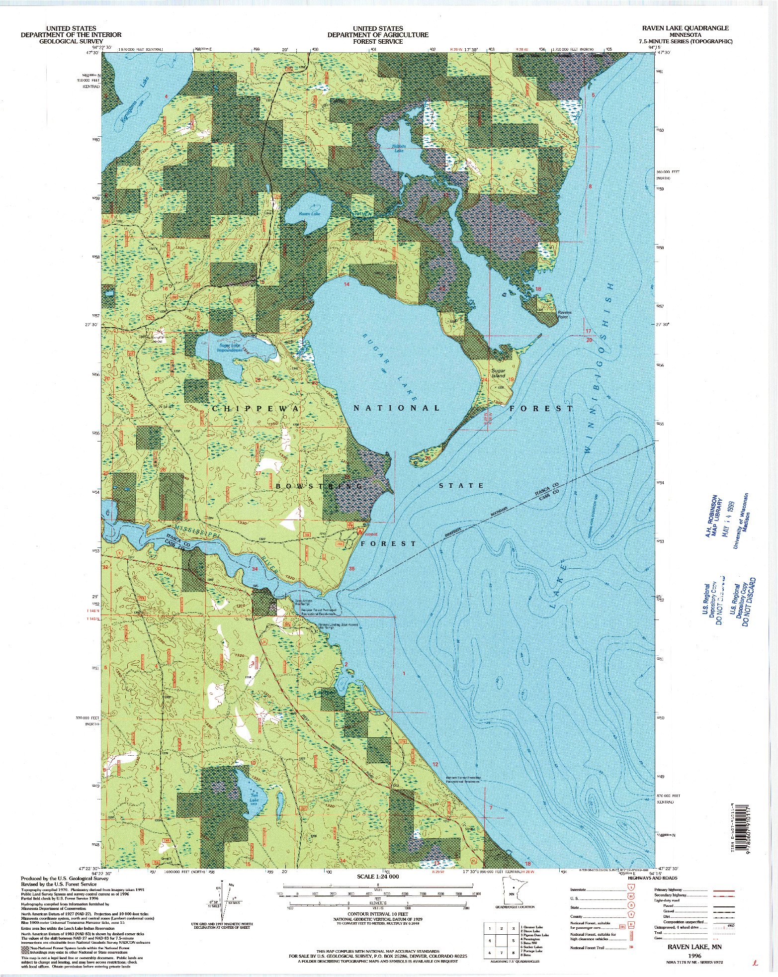 USGS 1:24000-SCALE QUADRANGLE FOR RAVEN LAKE, MN 1996