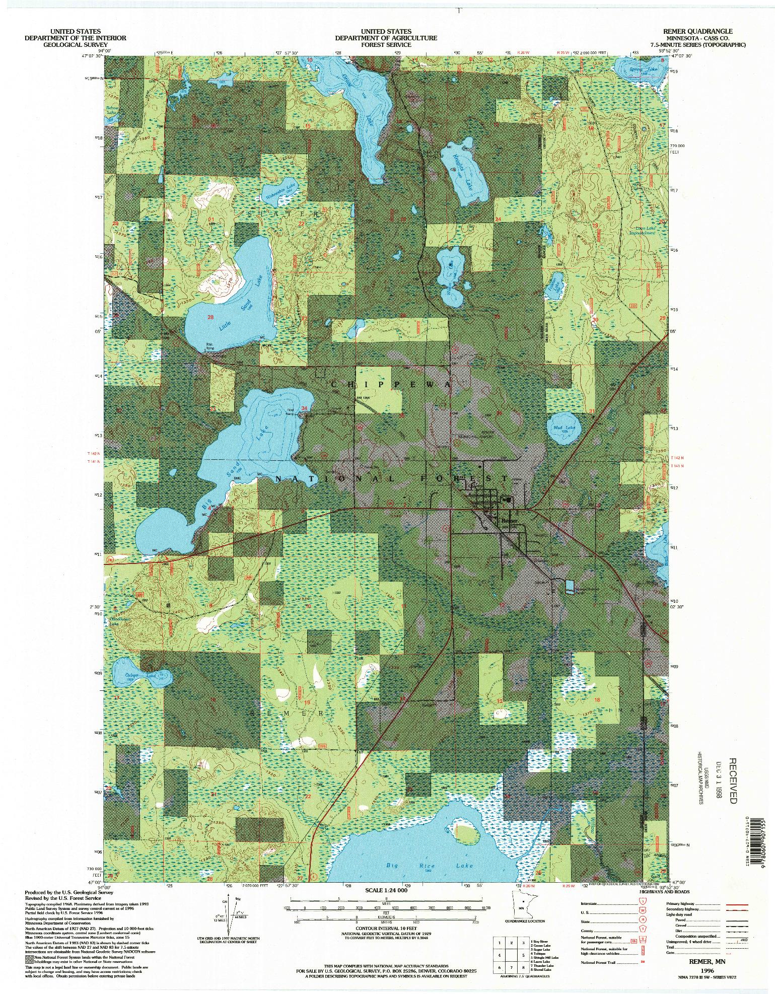 USGS 1:24000-SCALE QUADRANGLE FOR REMER, MN 1996