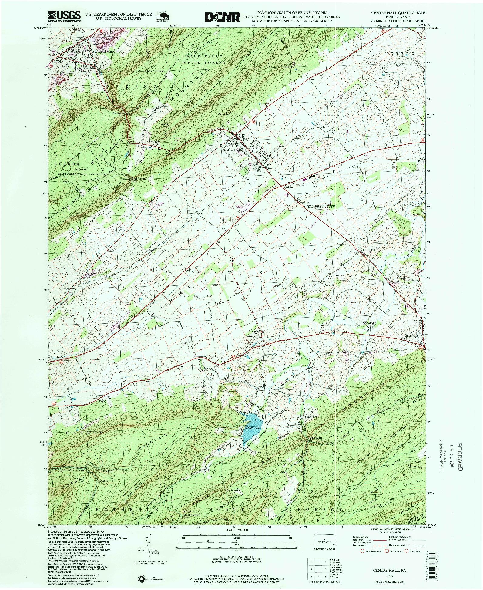 USGS 1:24000-SCALE QUADRANGLE FOR CENTRE HALL, PA 1998