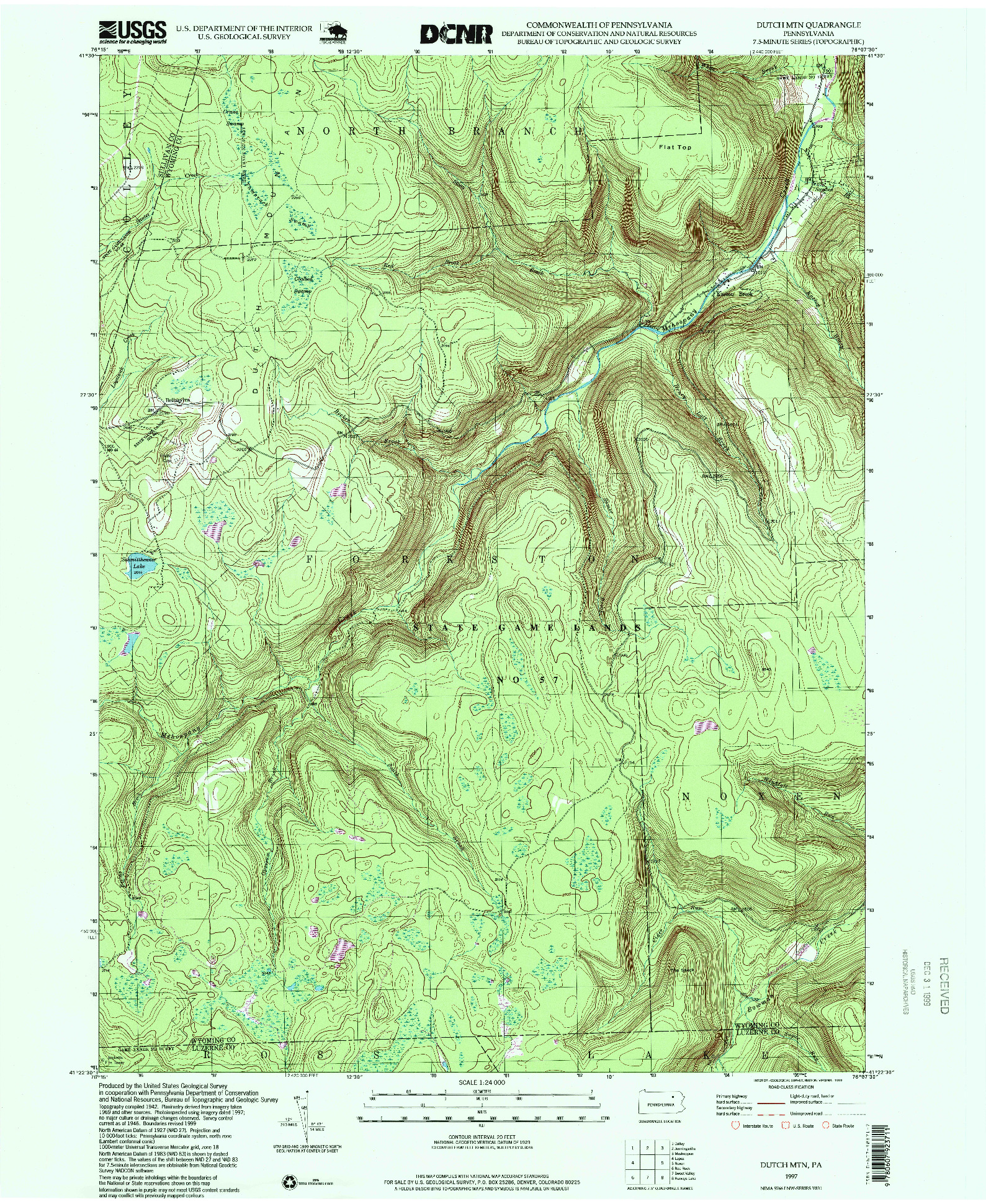 USGS 1:24000-SCALE QUADRANGLE FOR DUTCH MTN, PA 1997