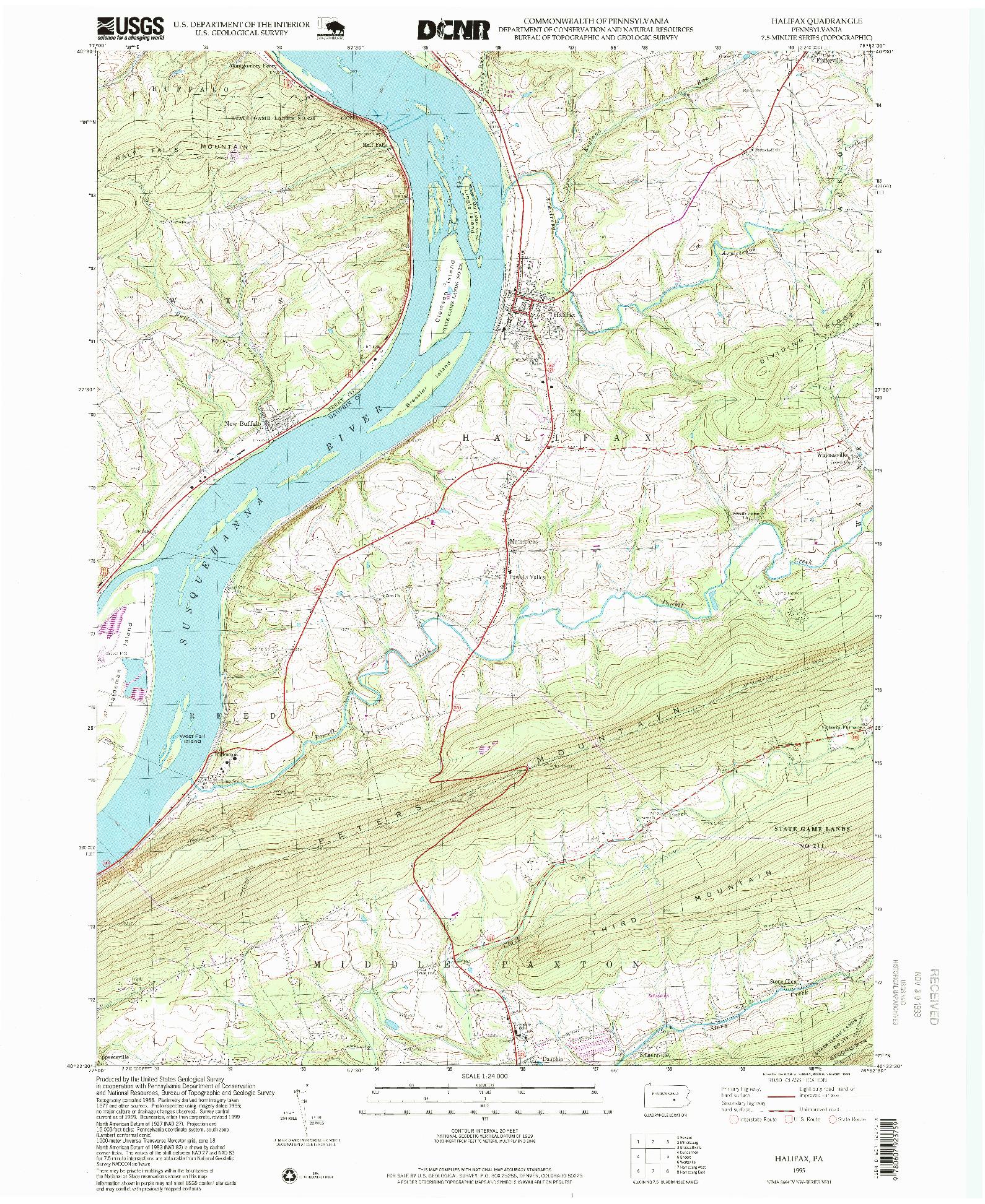 USGS 1:24000-SCALE QUADRANGLE FOR HALIFAX, PA 1995