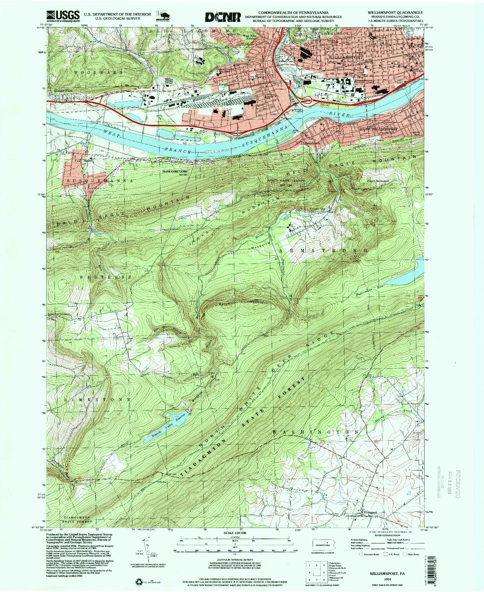 USGS 1:24000-SCALE QUADRANGLE FOR WILLIAMSPORT, PA 1994