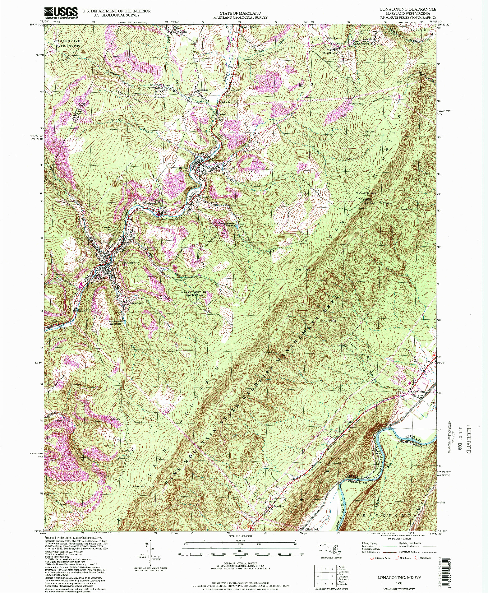 USGS 1:24000-SCALE QUADRANGLE FOR LONACONING, MD 1998