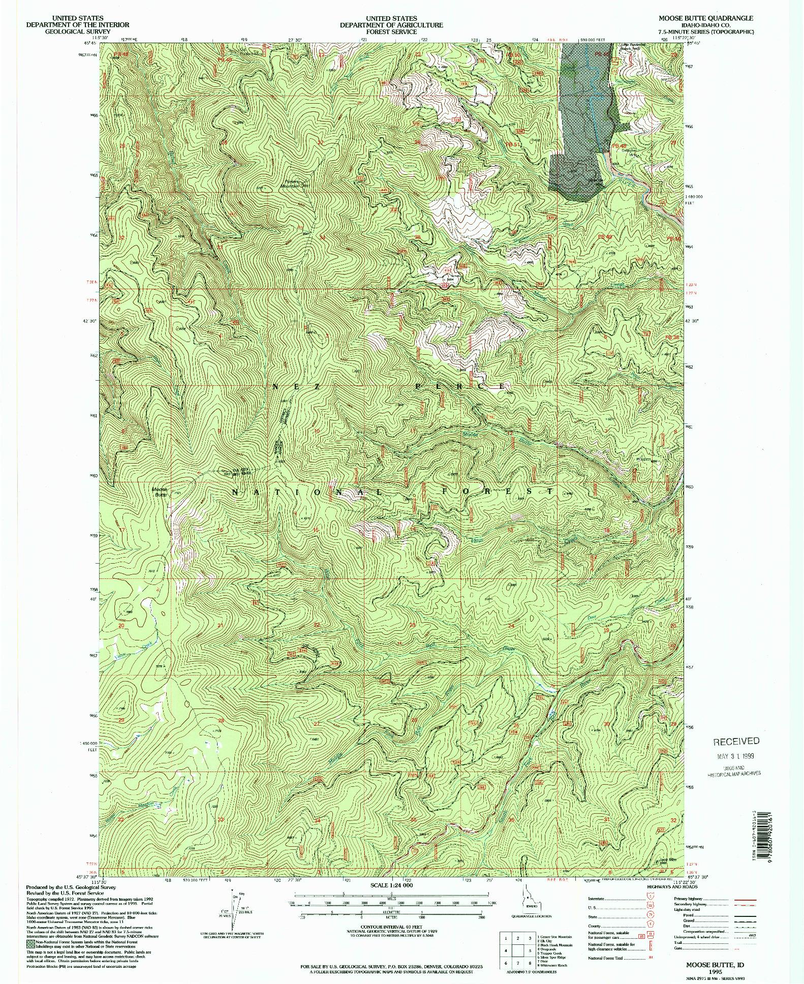 USGS 1:24000-SCALE QUADRANGLE FOR MOOSE BUTTE, ID 1995