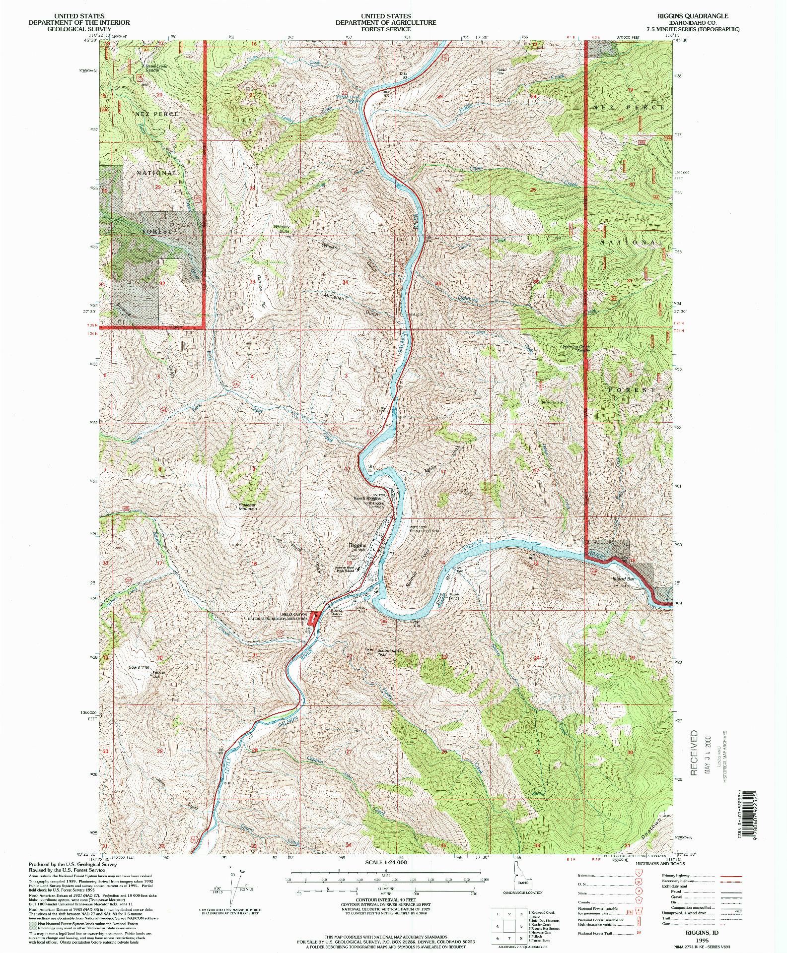 USGS 1:24000-SCALE QUADRANGLE FOR RIGGINS, ID 1995