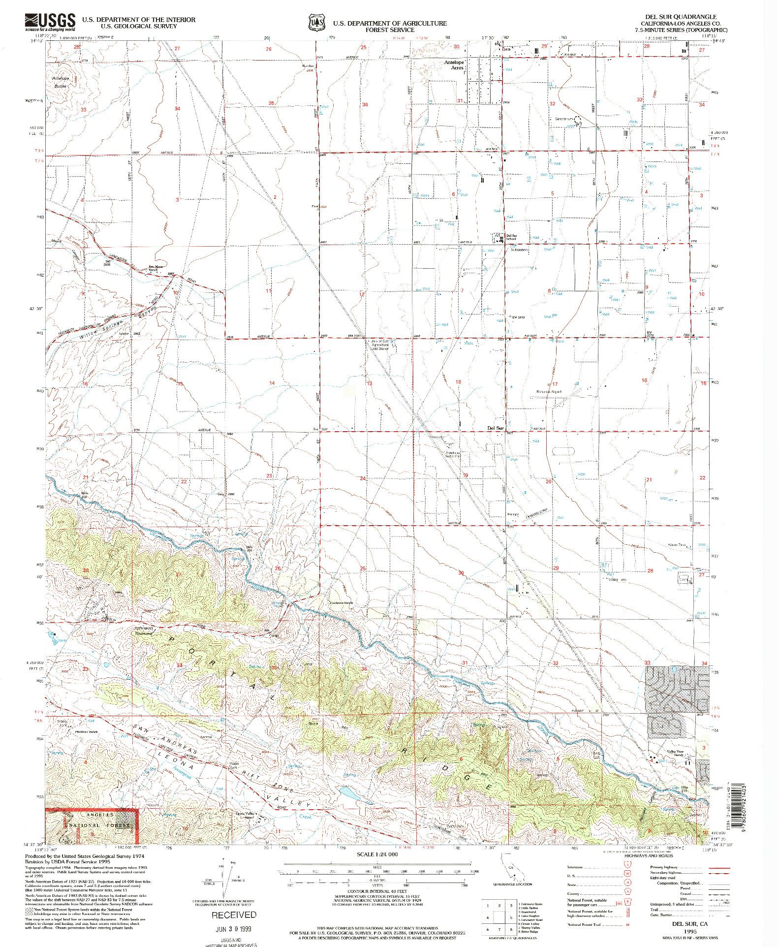 USGS 1:24000-SCALE QUADRANGLE FOR DEL SUR, CA 1995
