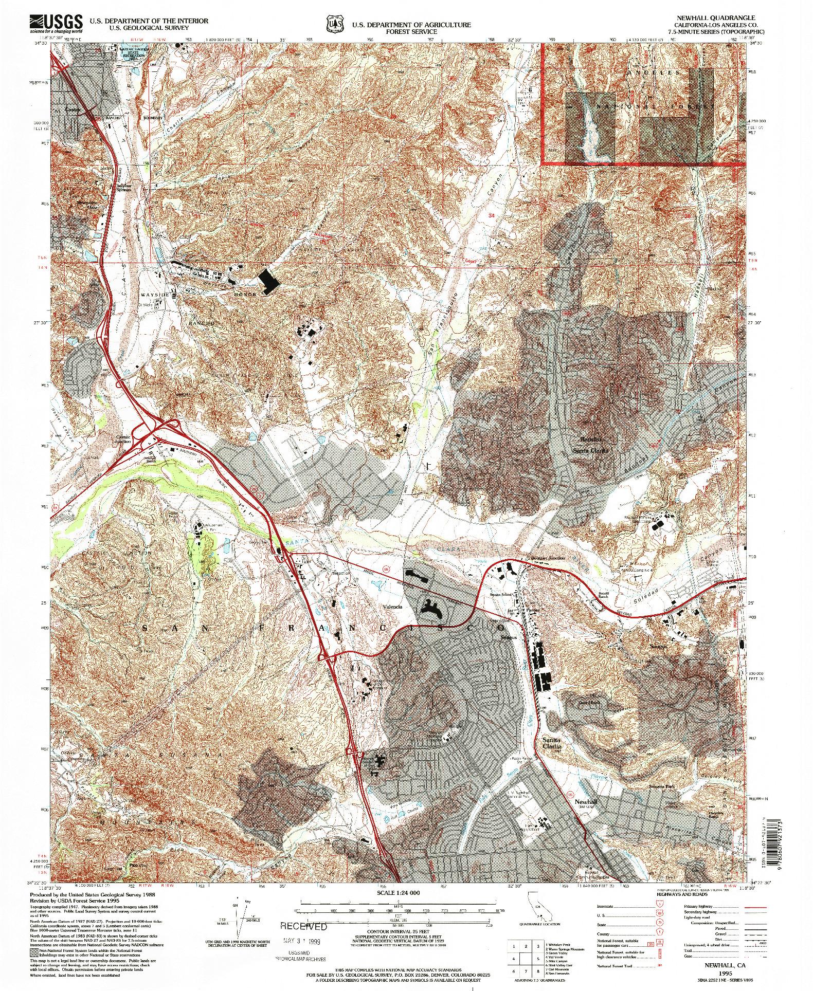 USGS 1:24000-SCALE QUADRANGLE FOR NEWHALL, CA 1995