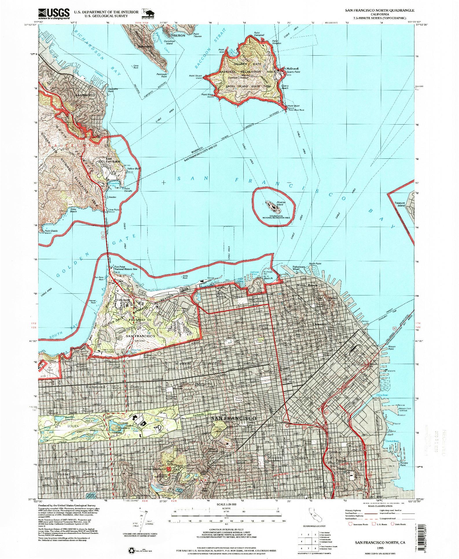 USGS 1:24000-SCALE QUADRANGLE FOR SAN FRANCISCO NORTH, CA 1995