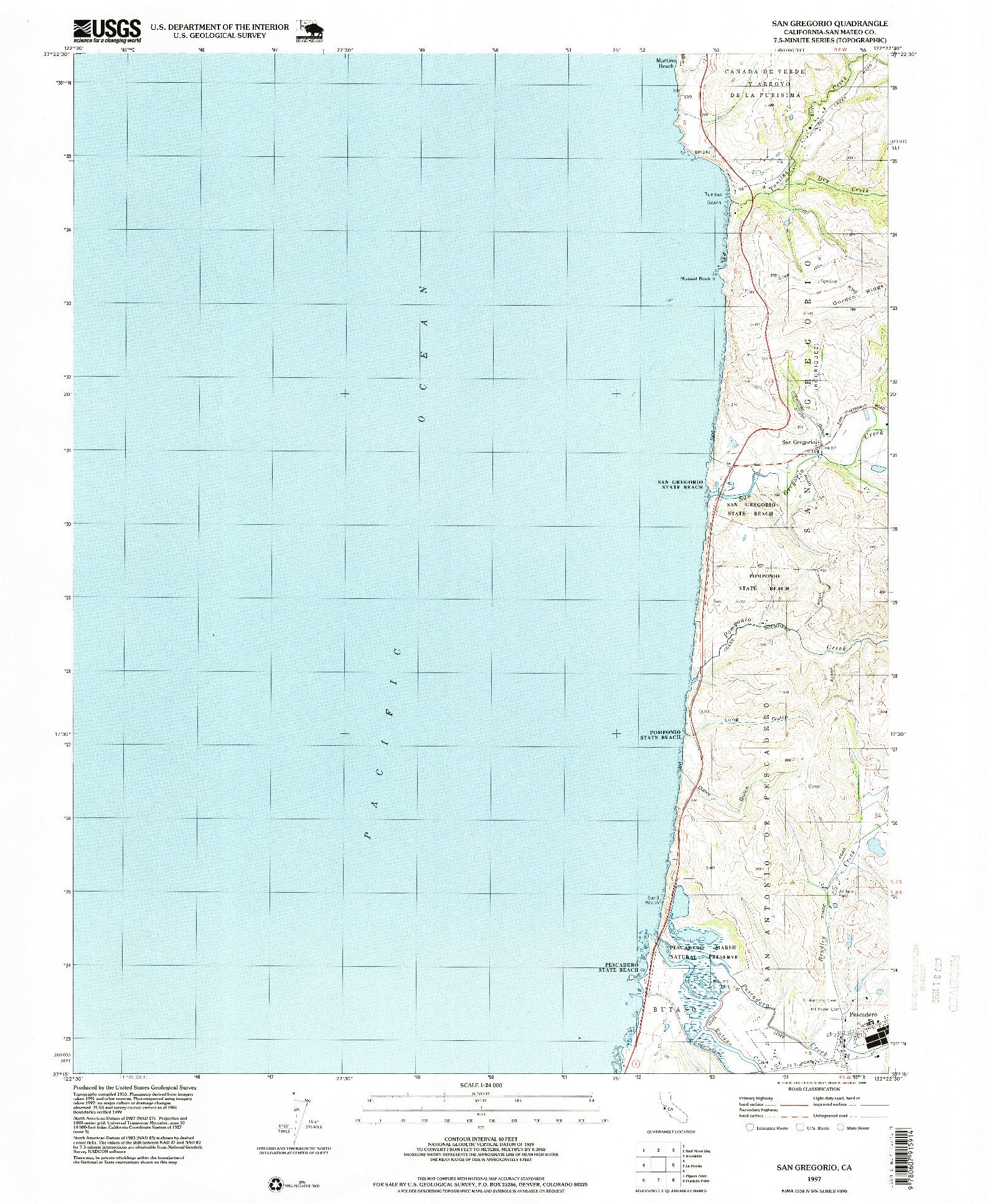 USGS 1:24000-SCALE QUADRANGLE FOR SAN GREGORIO, CA 1997