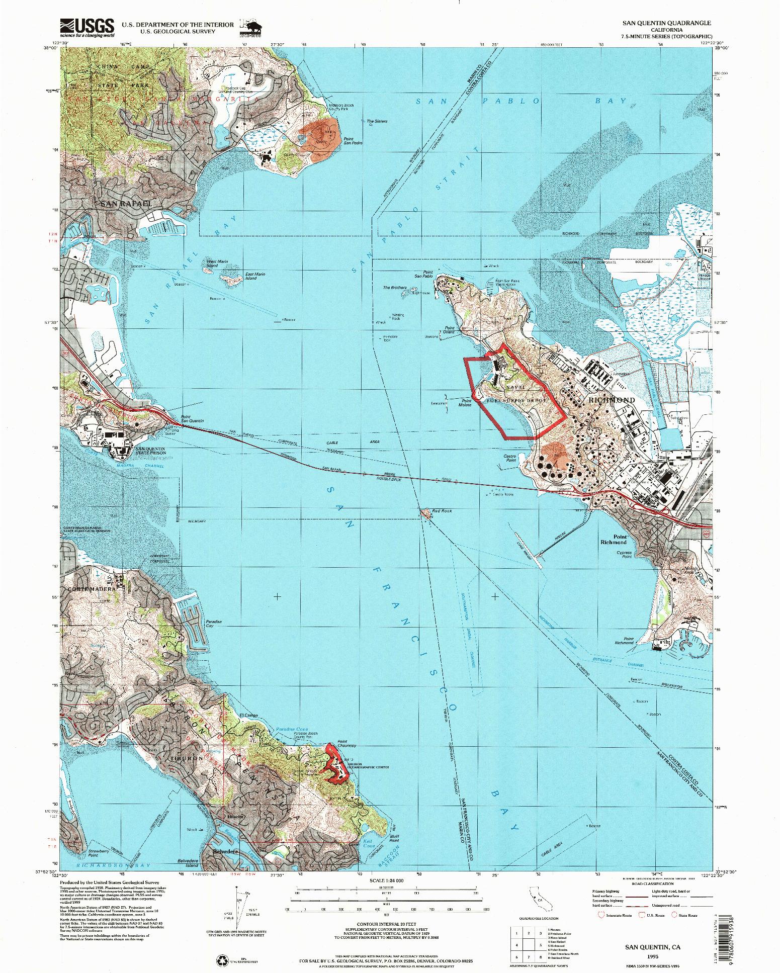 USGS 1:24000-SCALE QUADRANGLE FOR SAN QUENTIN, CA 1995