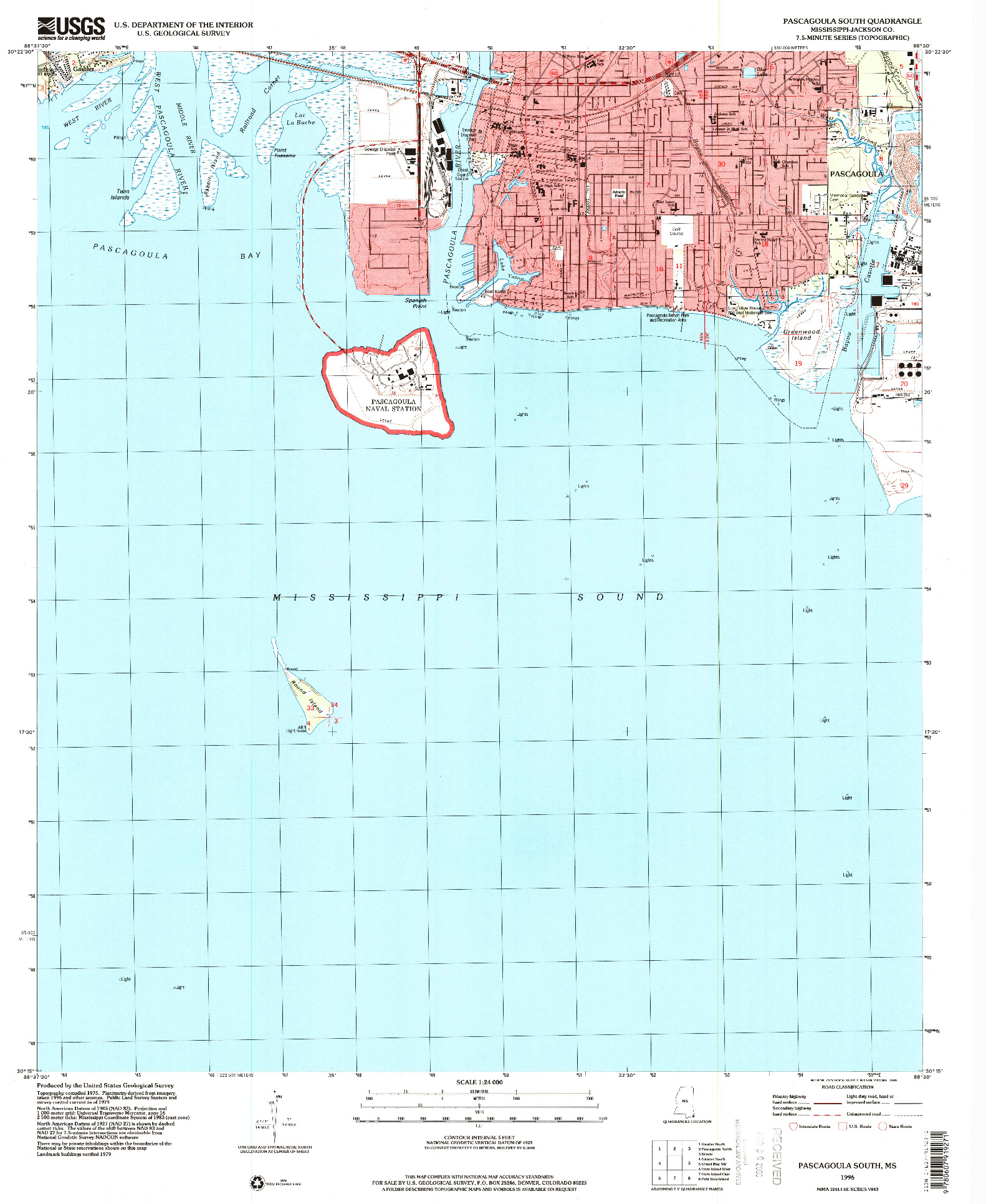 USGS 1:24000-SCALE QUADRANGLE FOR PASCAGOULA SOUTH, MS 1996