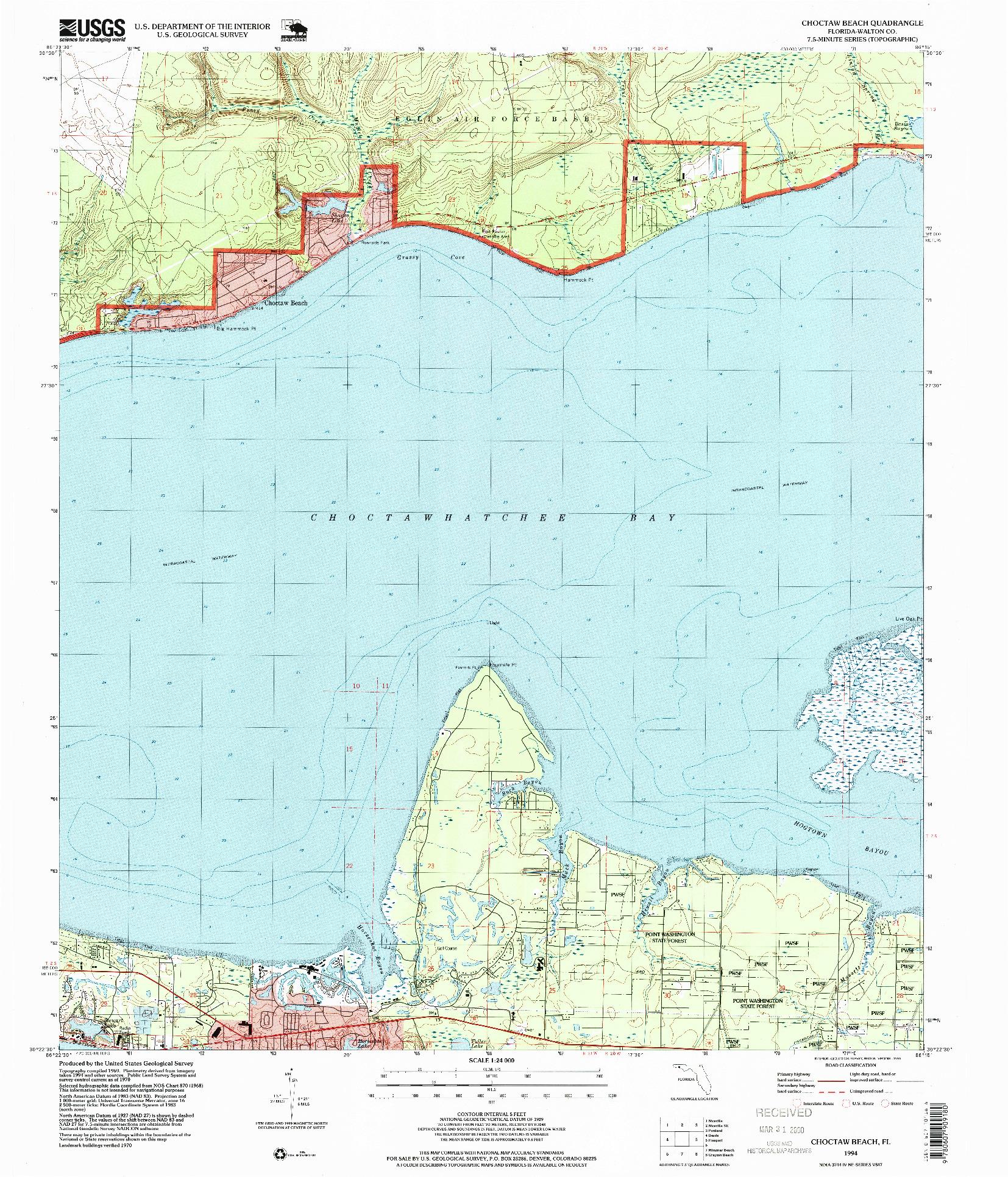 USGS 1:24000-SCALE QUADRANGLE FOR CHOCTAW BEACH, FL 1994