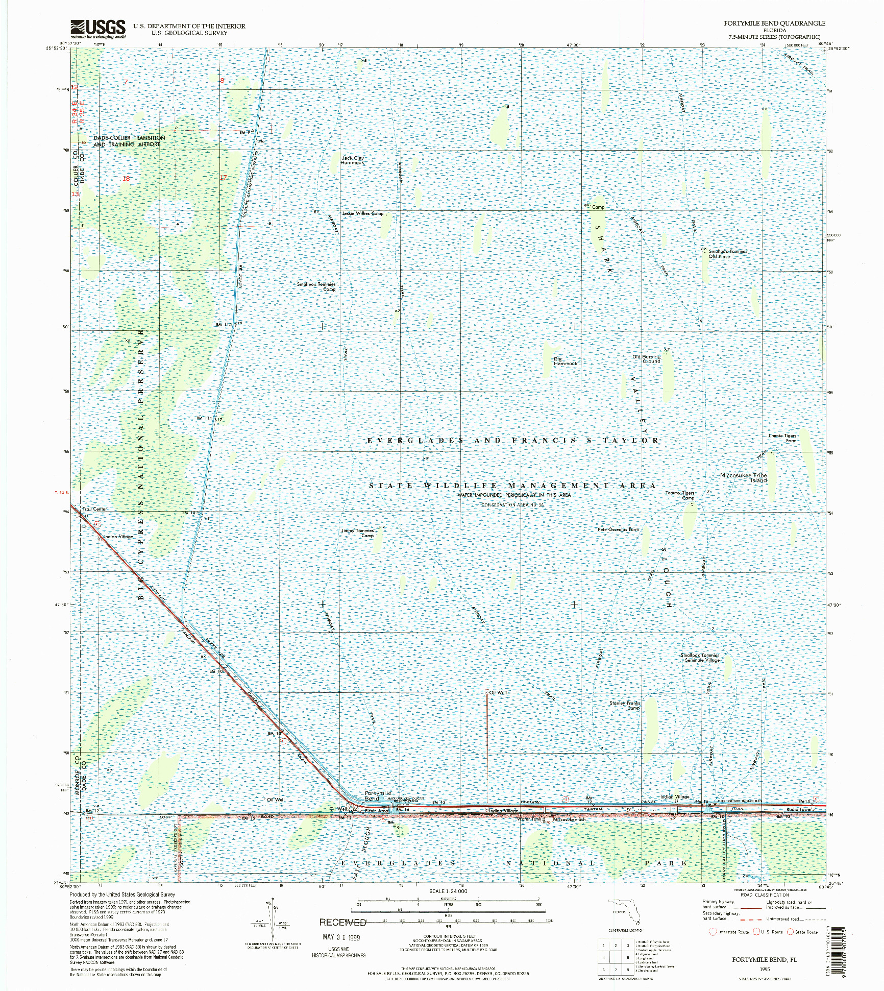 USGS 1:24000-SCALE QUADRANGLE FOR FORTYMILE BEND, FL 1995