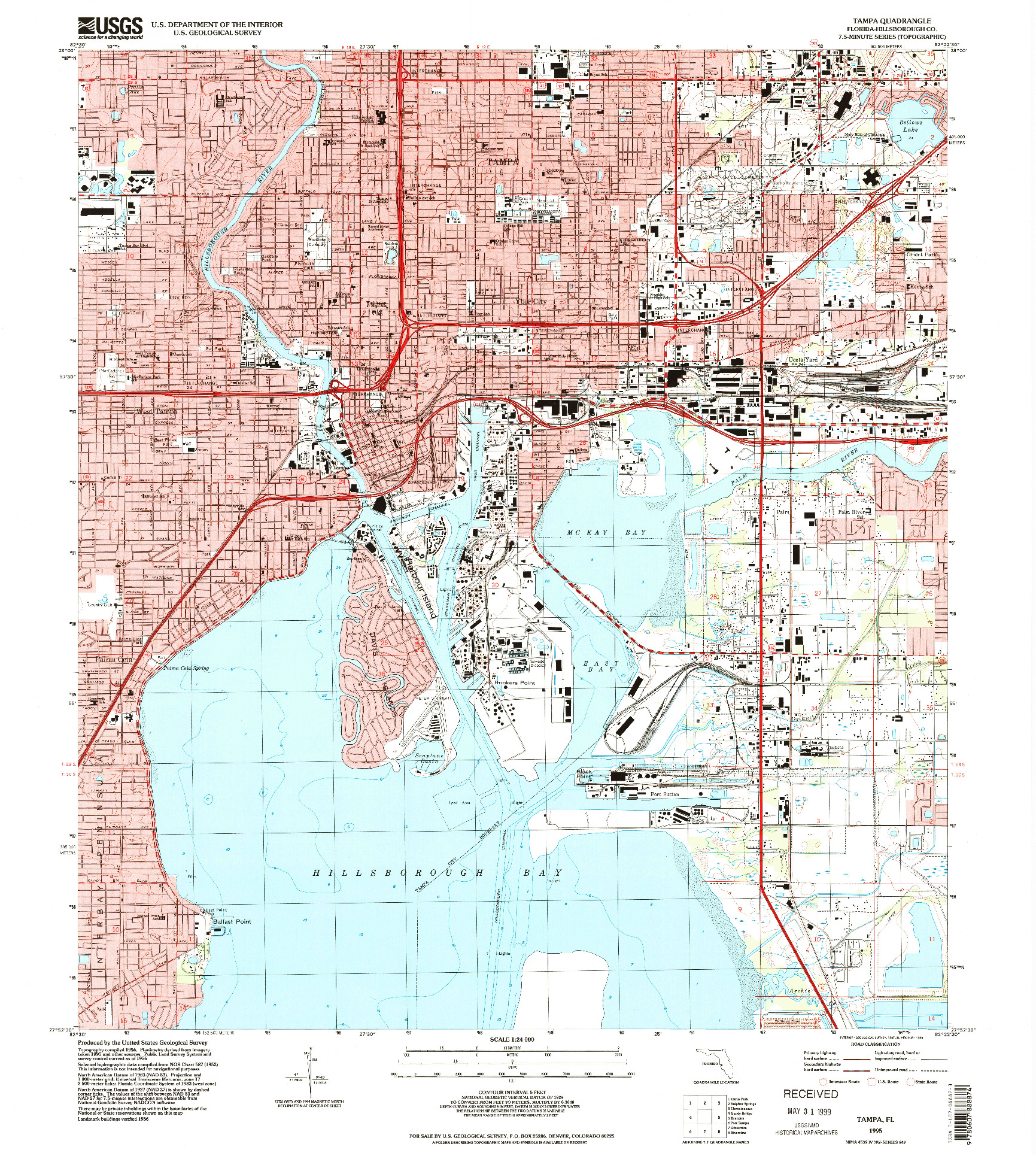 USGS 1:24000-SCALE QUADRANGLE FOR TAMPA, FL 1995