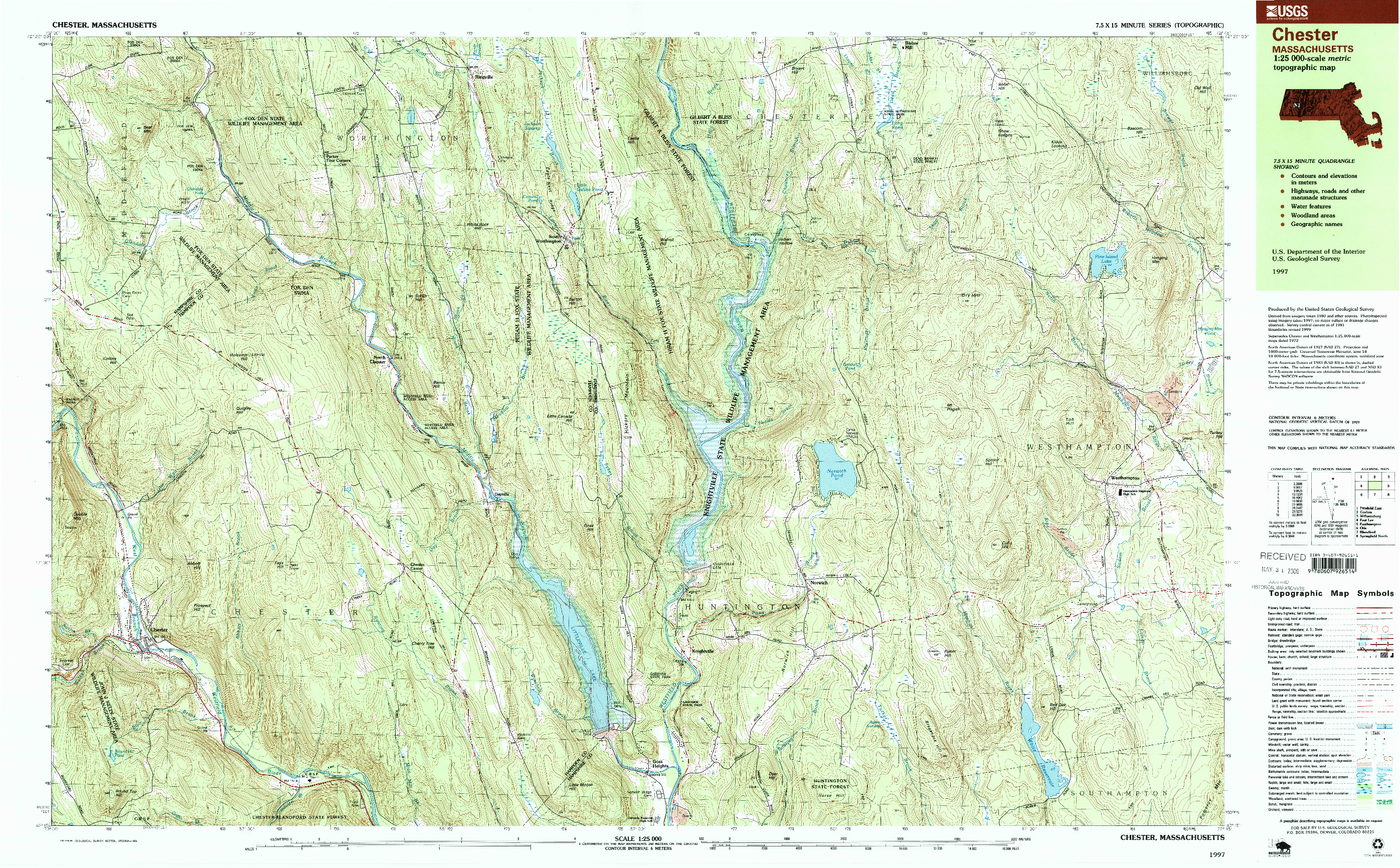 USGS 1:25000-SCALE QUADRANGLE FOR CHESTER, MA 1997