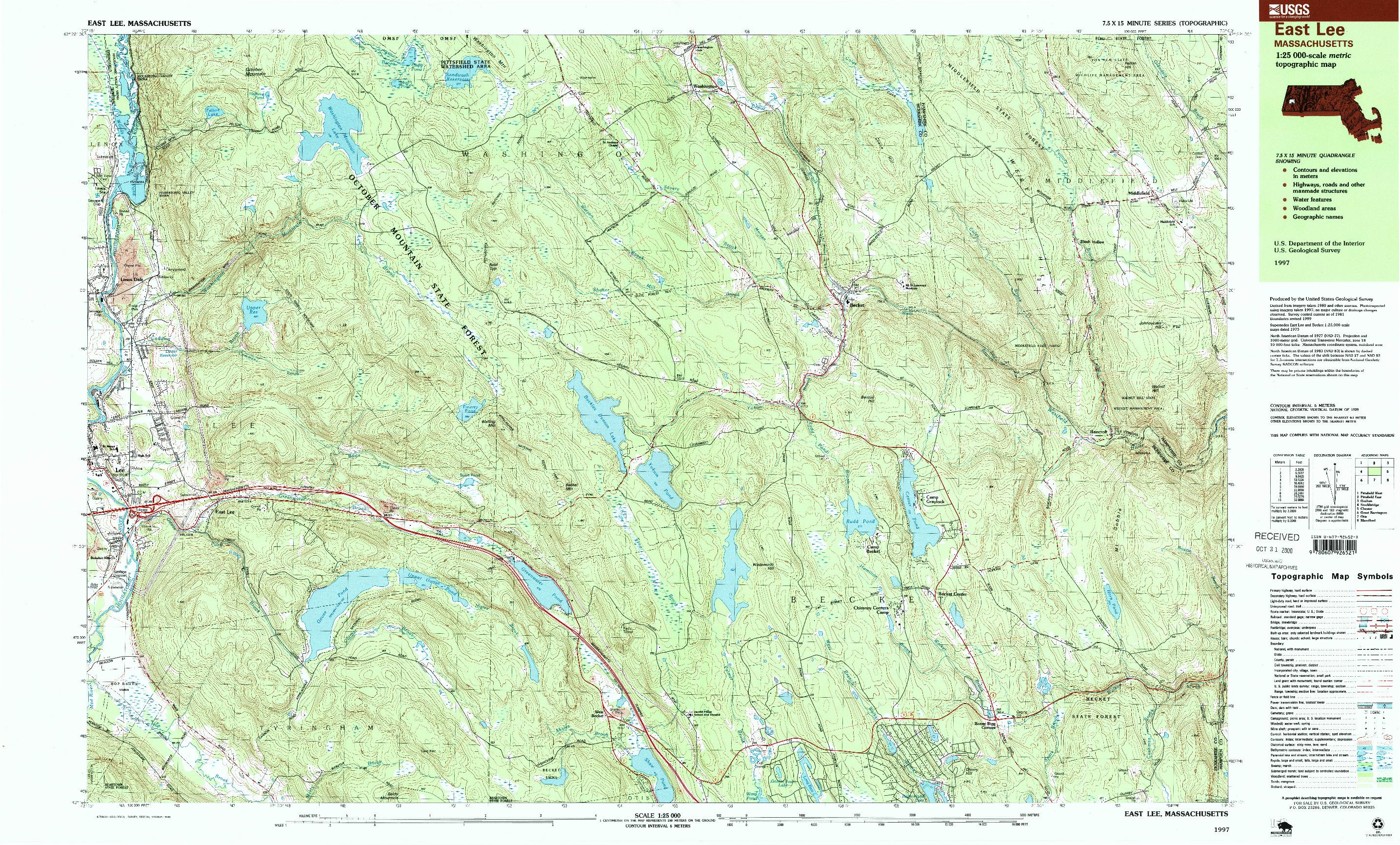 USGS 1:25000-SCALE QUADRANGLE FOR EAST LEE, MA 1997