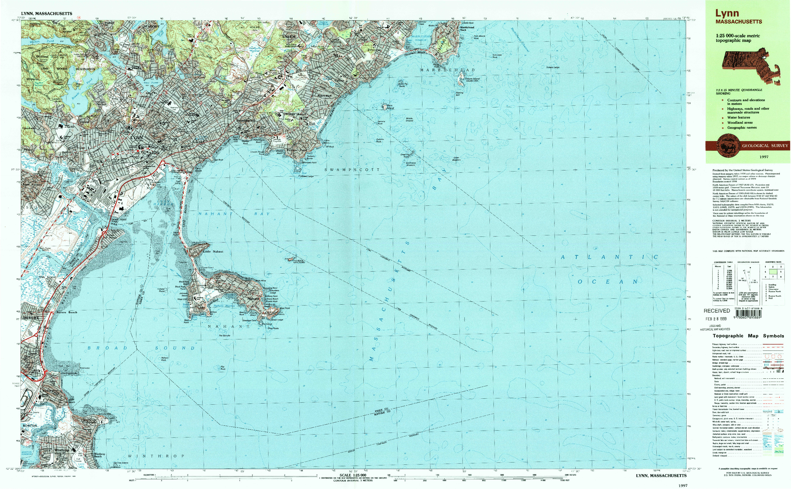 USGS 1:25000-SCALE QUADRANGLE FOR LYNN, MA 1997