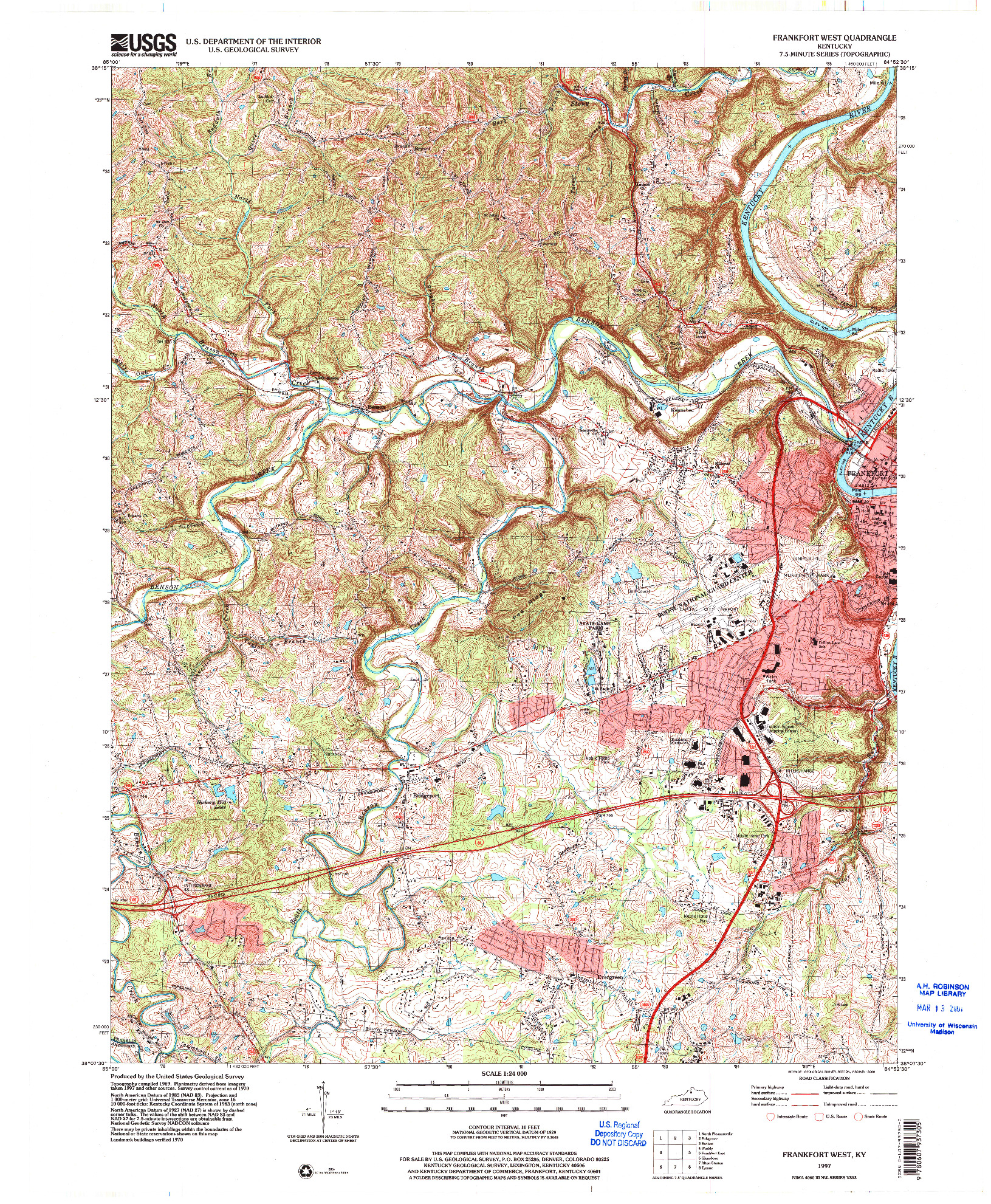 USGS 1:24000-SCALE QUADRANGLE FOR FRANKFORT WEST, KY 1997