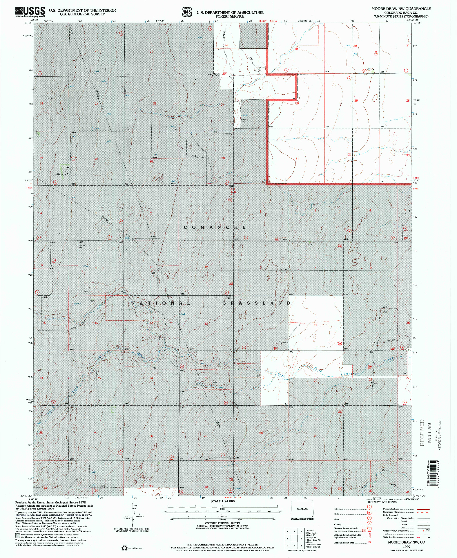 USGS 1:24000-SCALE QUADRANGLE FOR MOORE DRAW NW, CO 1997