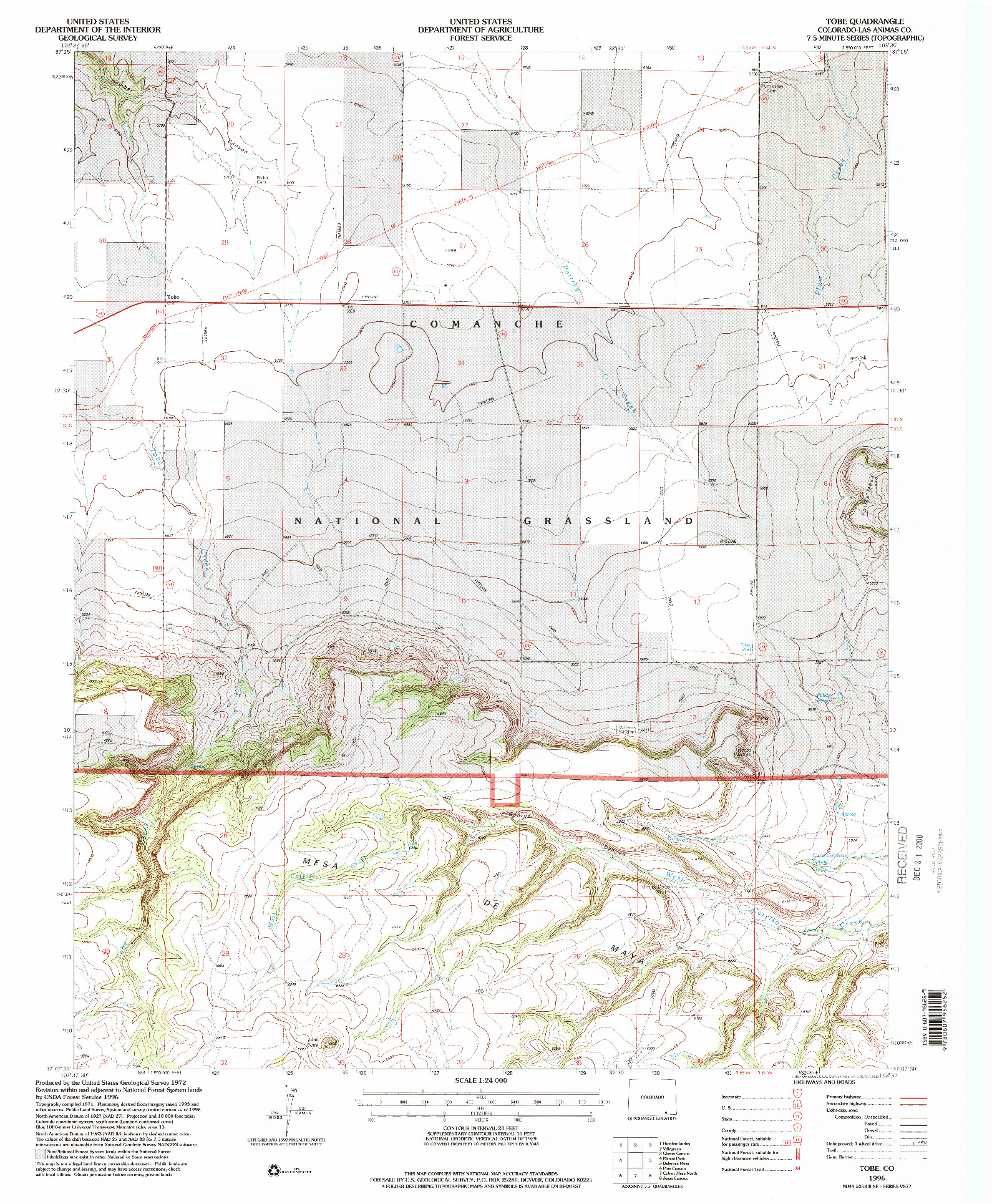 USGS 1:24000-SCALE QUADRANGLE FOR TOBE, CO 1996