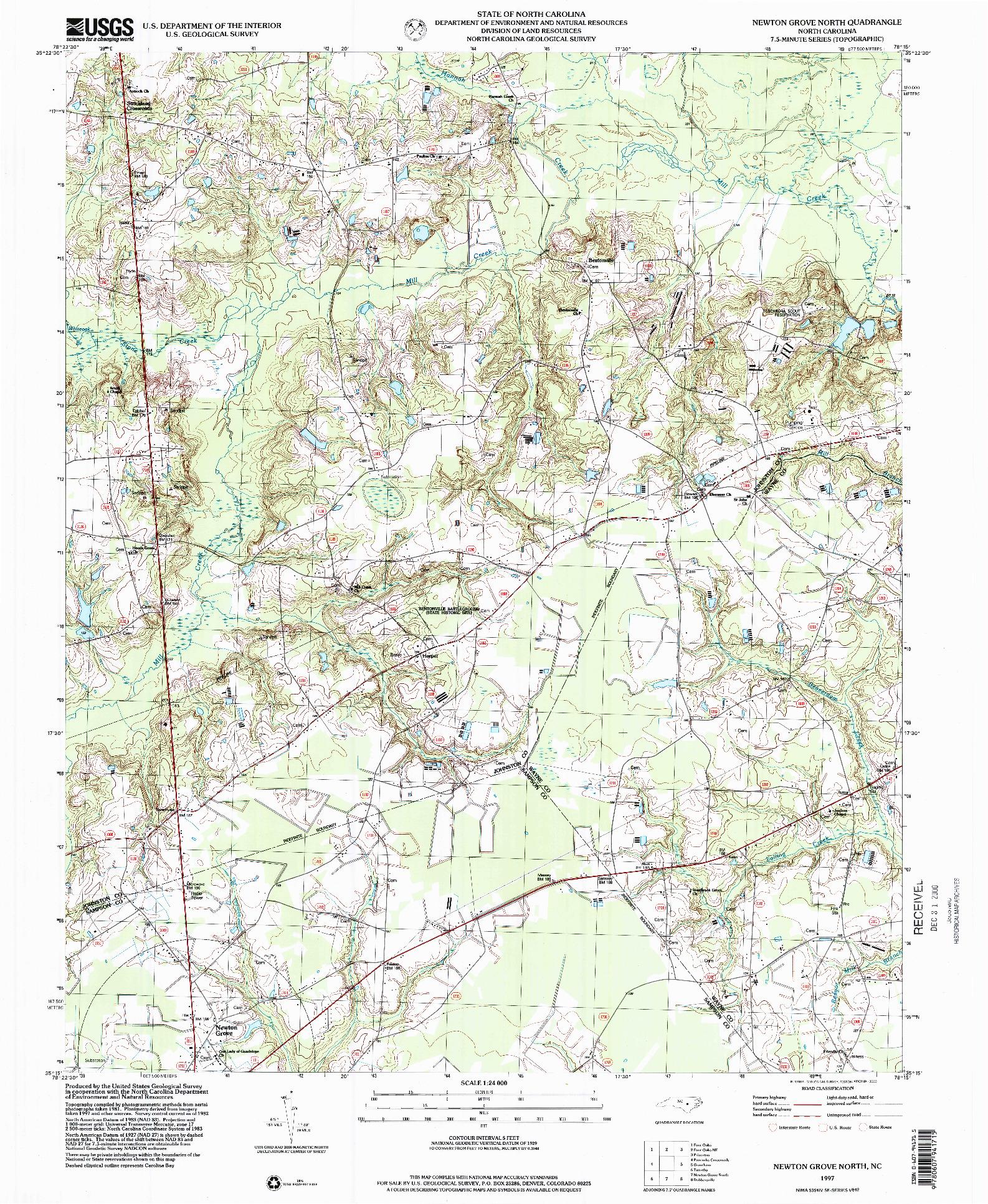USGS 1:24000-SCALE QUADRANGLE FOR NEWTON GROVE NORTH, NC 1997
