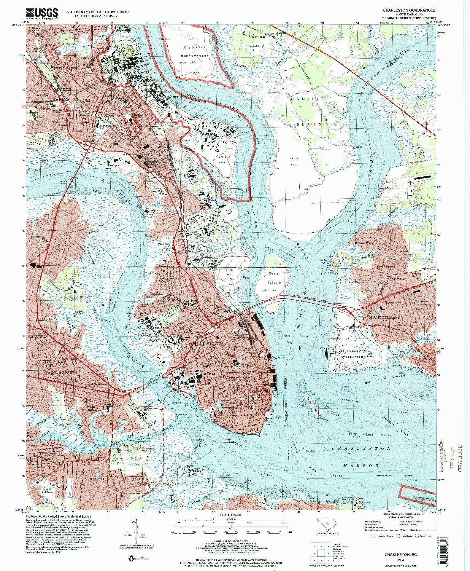 USGS 1:24000-SCALE QUADRANGLE FOR CHARLESTON, SC 1994