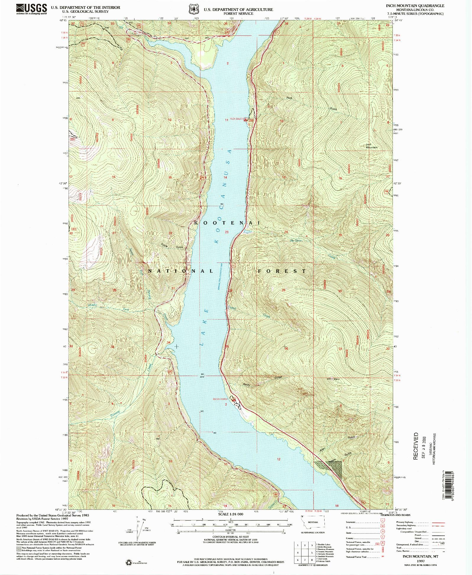 USGS 1:24000-SCALE QUADRANGLE FOR INCH MOUNTAIN, MT 1997