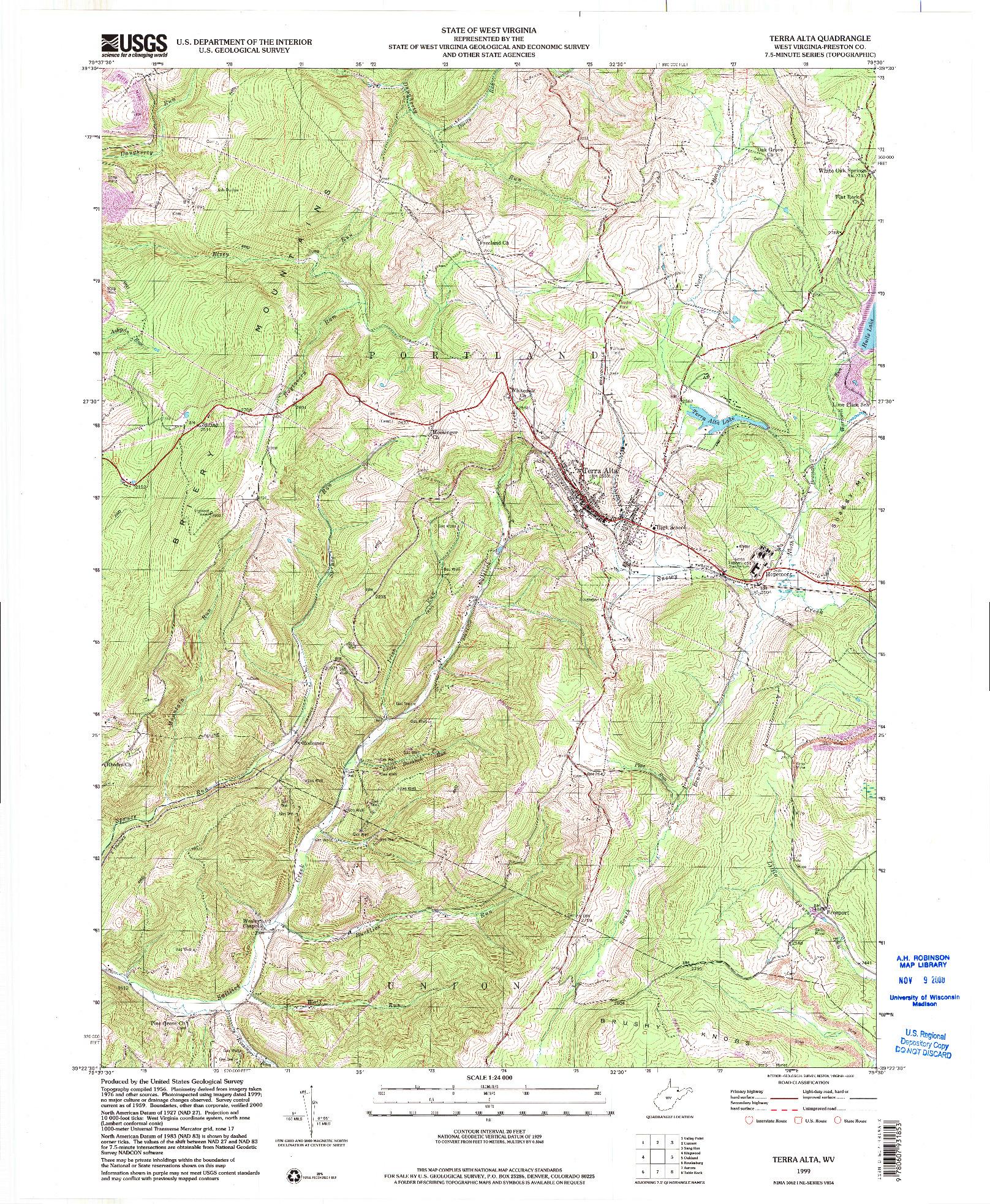 USGS 1:24000-SCALE QUADRANGLE FOR TERRA ALTA, WV 1999