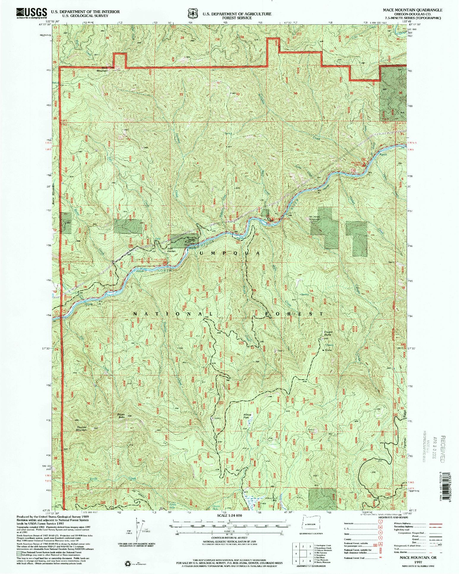 USGS 1:24000-SCALE QUADRANGLE FOR MACE MOUNTAIN, OR 1997