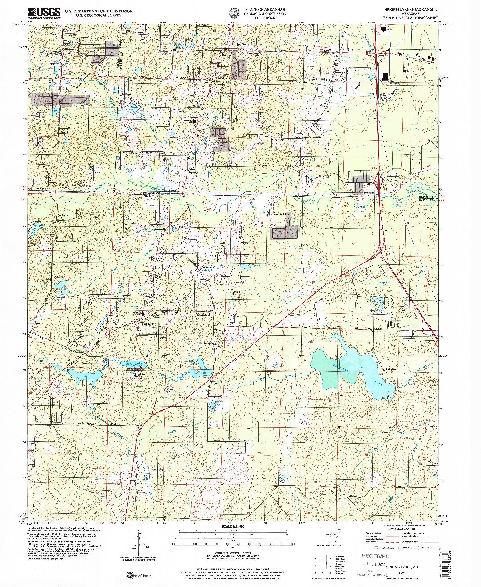USGS 1:24000-SCALE QUADRANGLE FOR SPRING LAKE, AR 1994