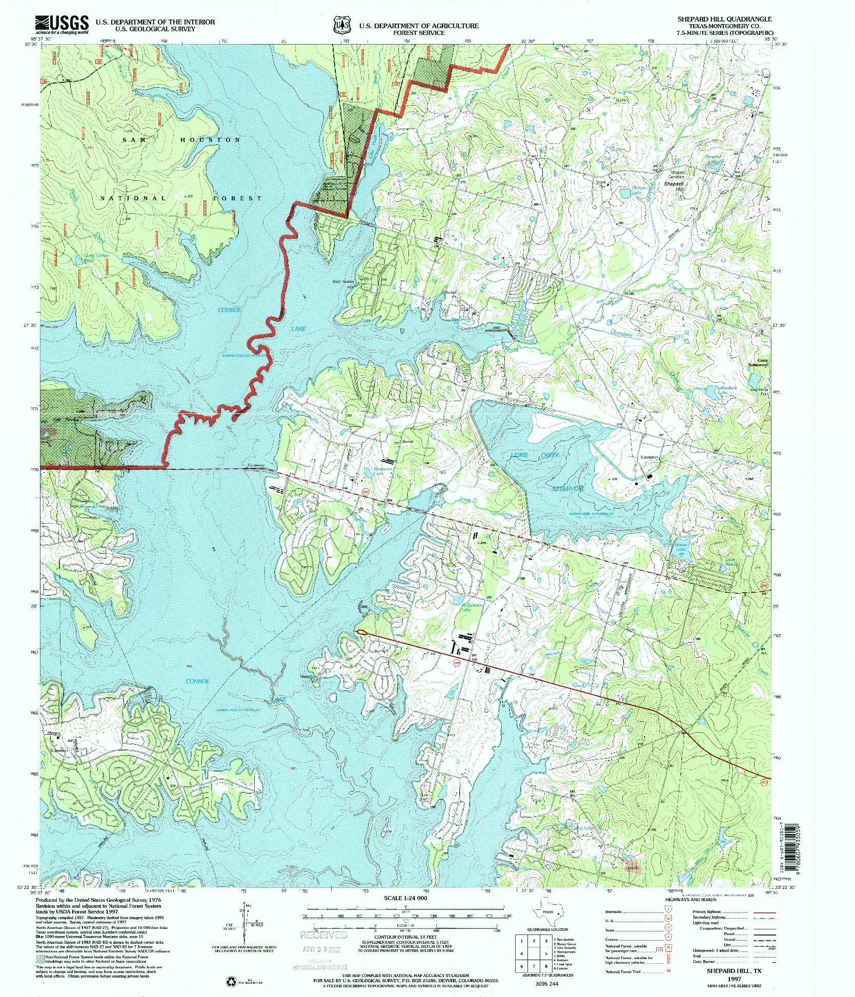 USGS 1:24000-SCALE QUADRANGLE FOR SHEPARD HILL, TX 1997