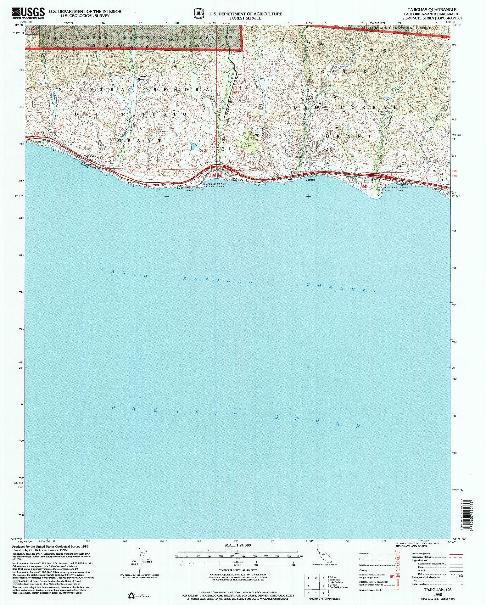 USGS 1:24000-SCALE QUADRANGLE FOR TAJIGUAS, CA 1995