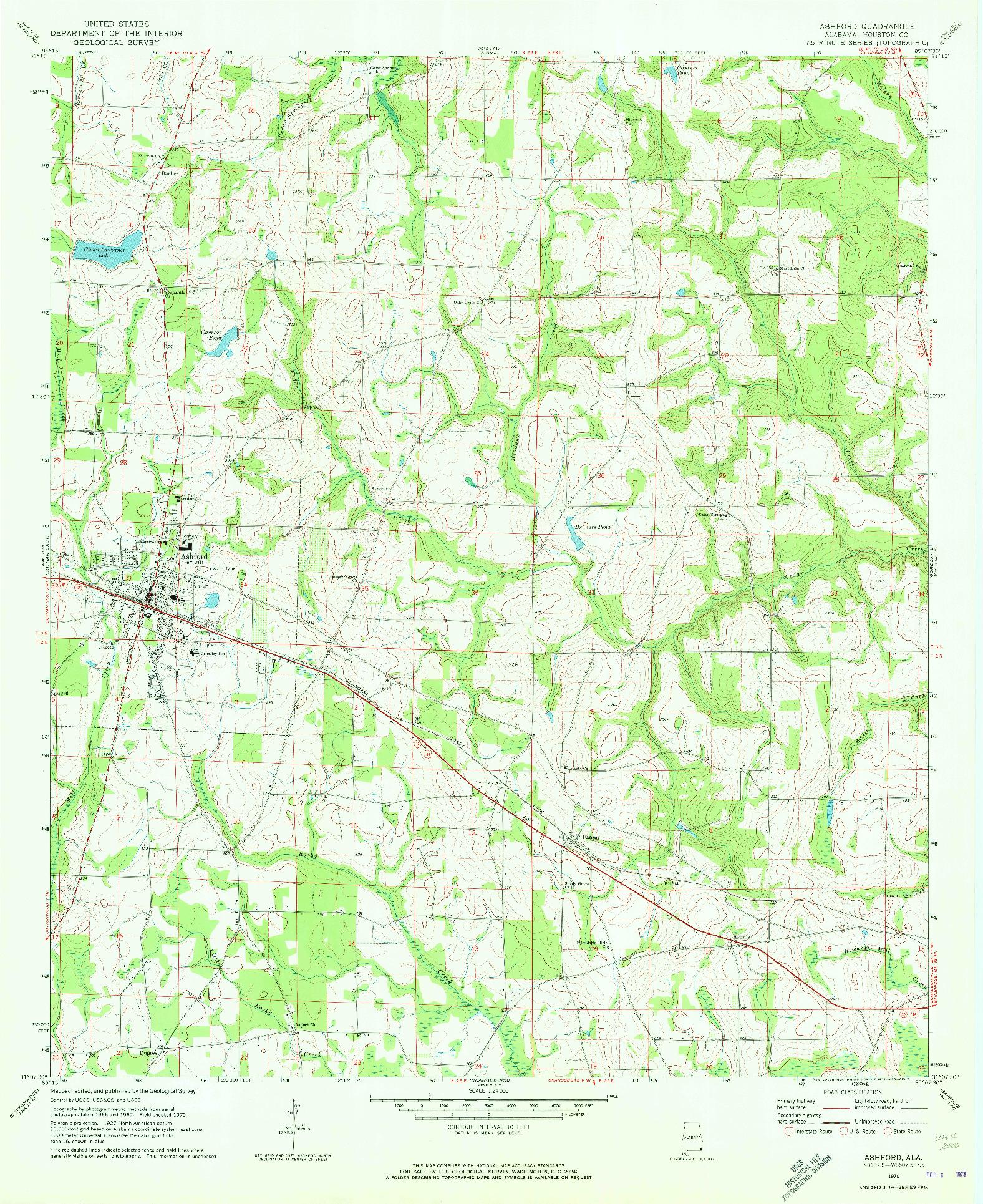 USGS 1:24000-SCALE QUADRANGLE FOR ASHFORD, AL 1970