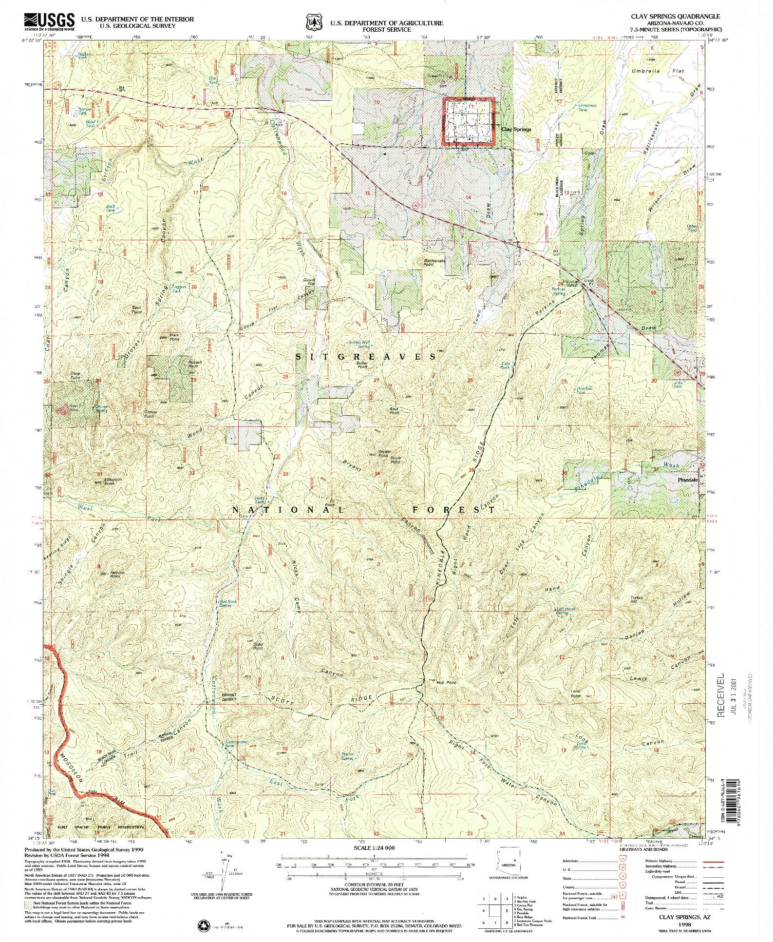 USGS 1:24000-SCALE QUADRANGLE FOR CLAY SPRINGS, AZ 1998