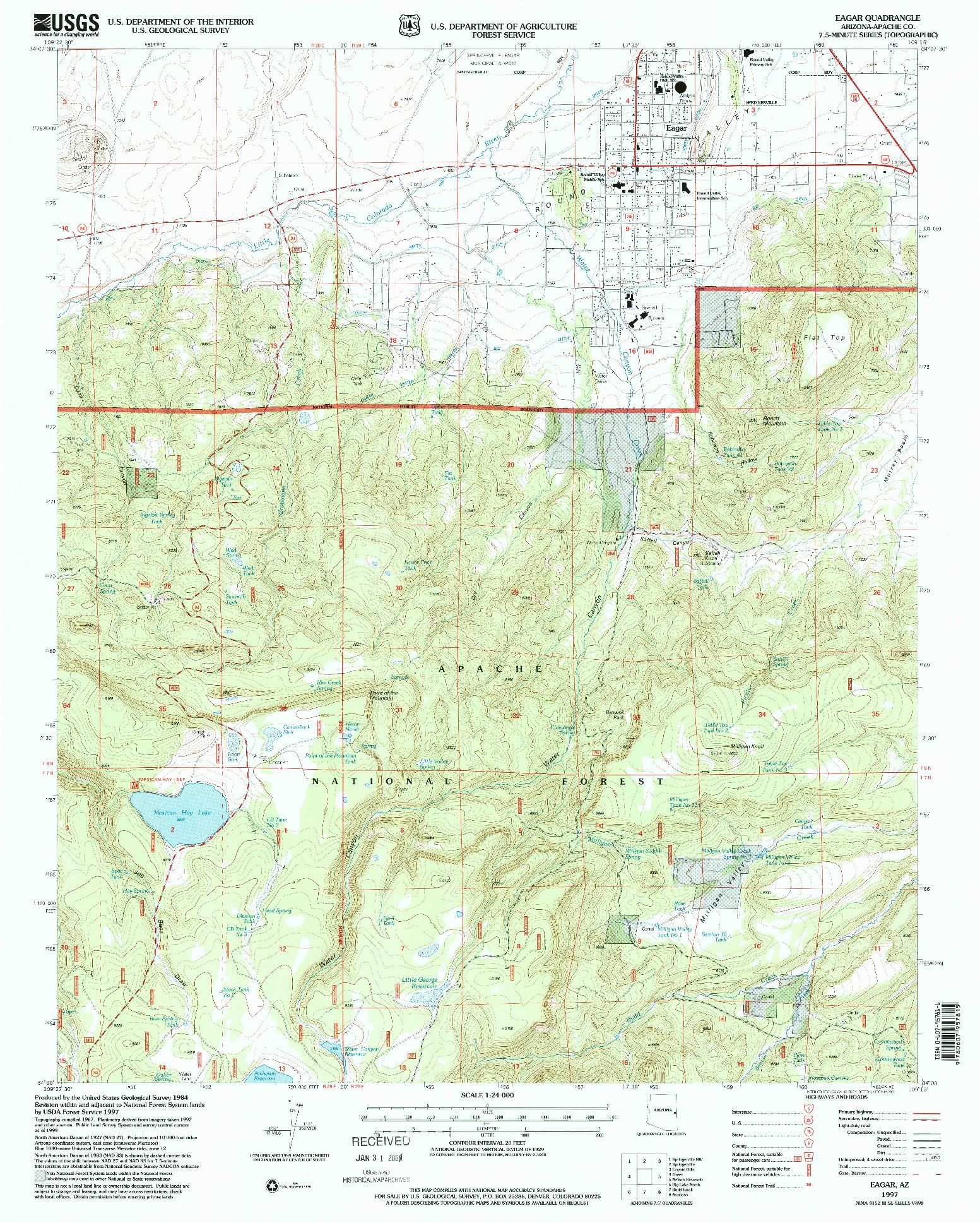 USGS 1:24000-SCALE QUADRANGLE FOR EAGAR, AZ 1997