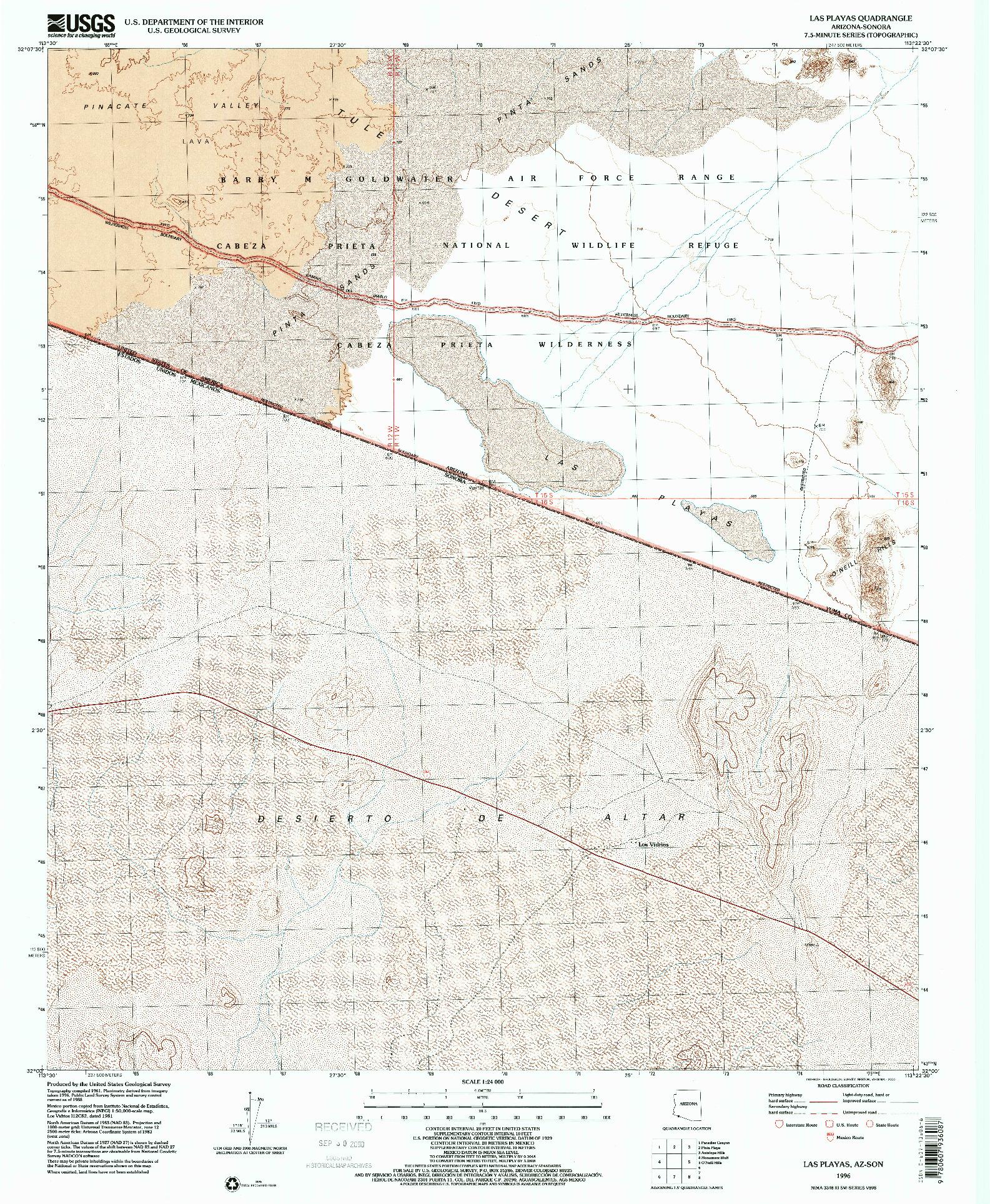 USGS 1:24000-SCALE QUADRANGLE FOR LAS PLAYAS, AZ 1996