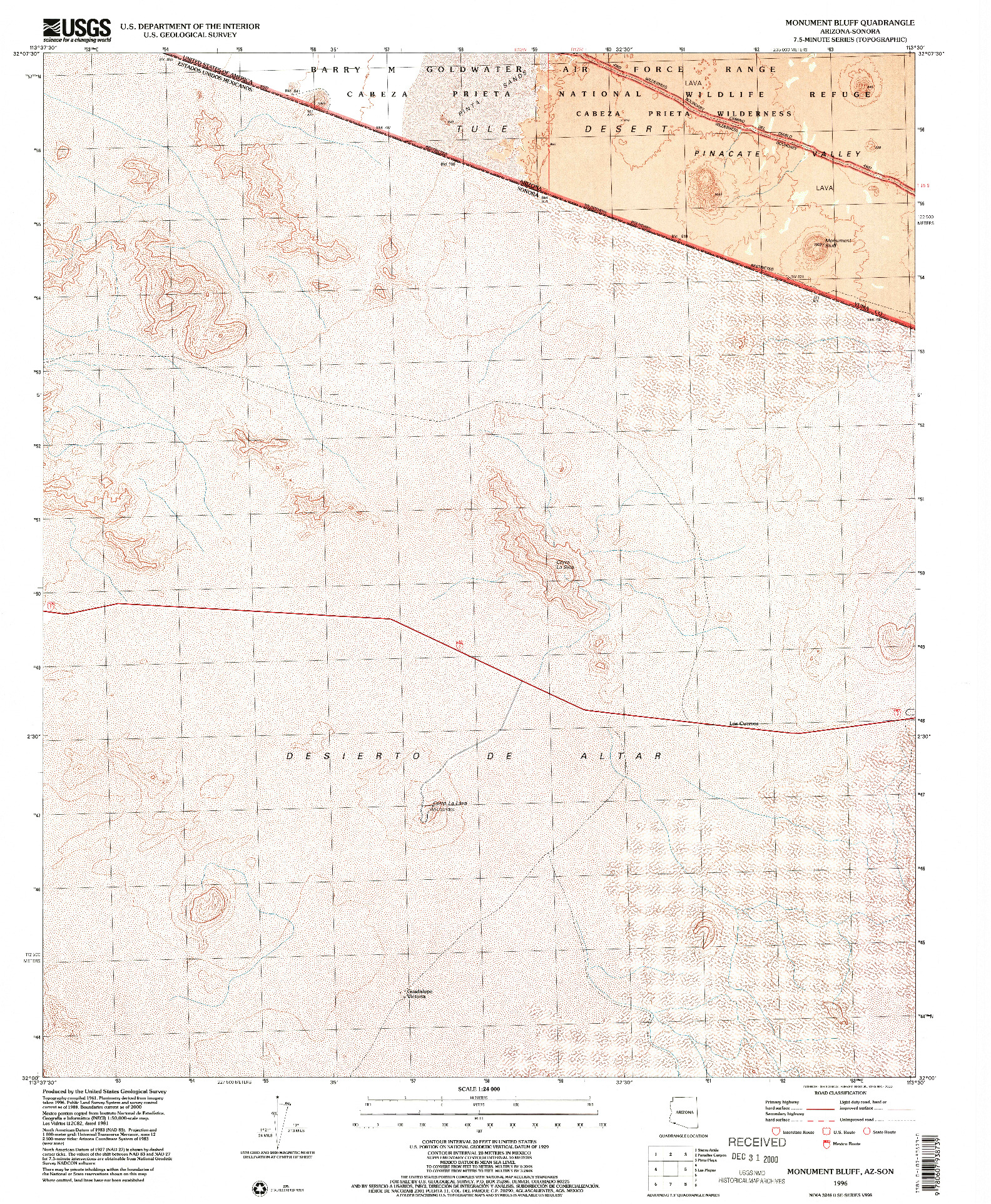 USGS 1:24000-SCALE QUADRANGLE FOR MONUMENT BLUFF, AZ 1996