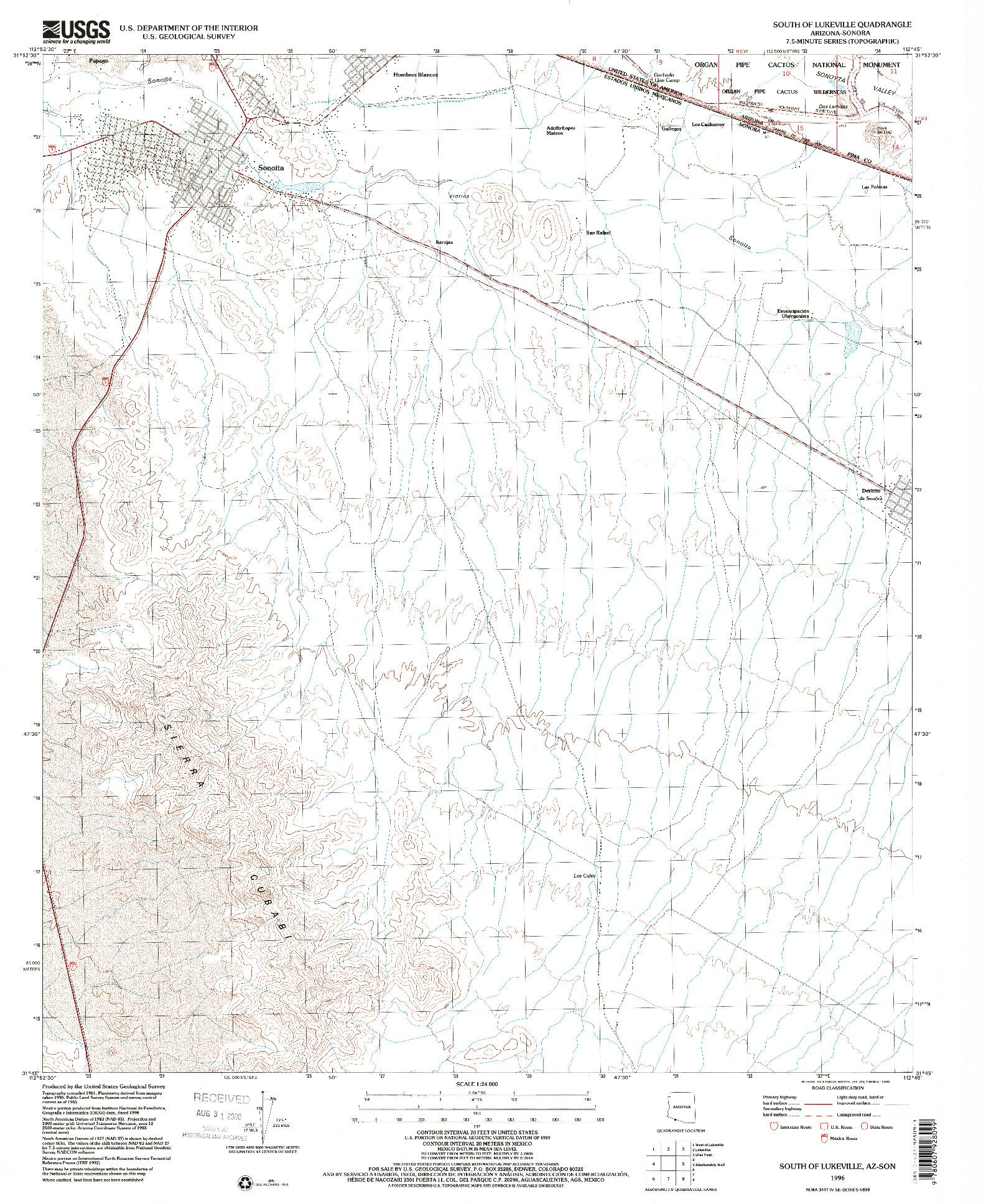 USGS 1:24000-SCALE QUADRANGLE FOR SOUTH OF LUKEVILLE, AZ 1996