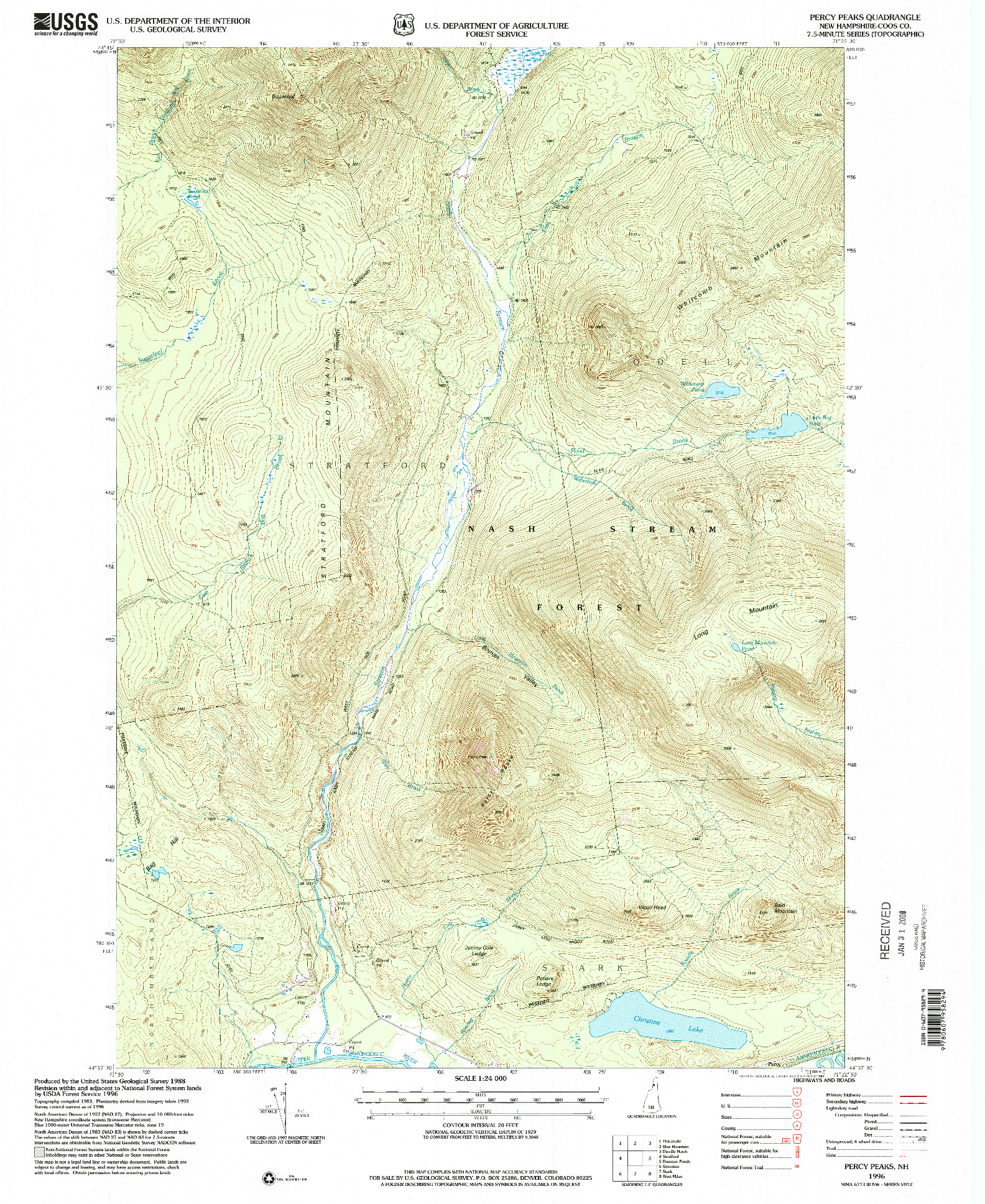 USGS 1:24000-SCALE QUADRANGLE FOR PERCY PEAKS, NH 1996