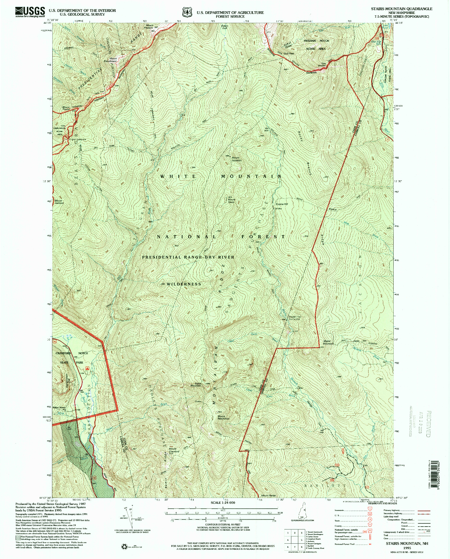USGS 1:24000-SCALE QUADRANGLE FOR STAIRS MOUNTAIN, NH 1995