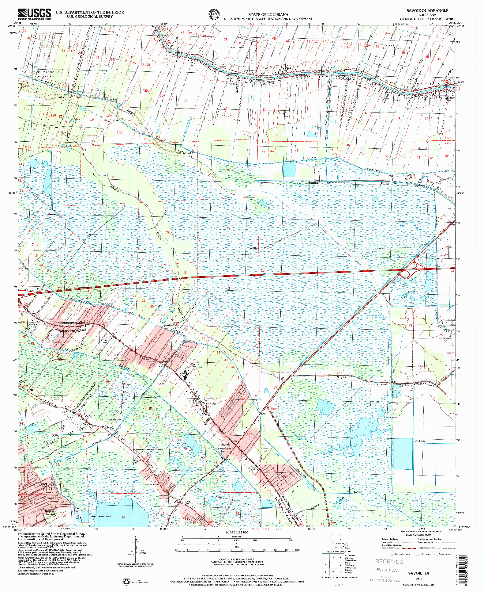 USGS 1:24000-SCALE QUADRANGLE FOR SAVOIE, LA 1998